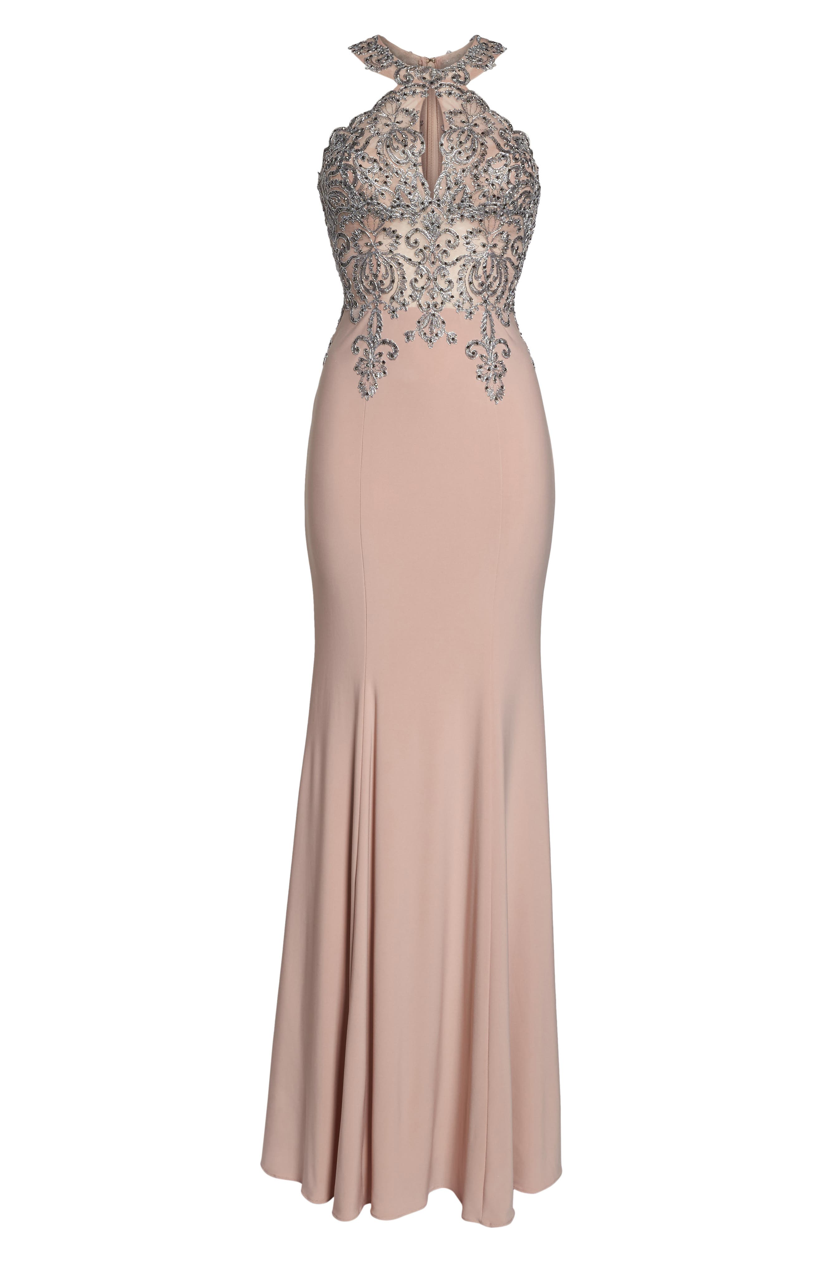 Embellished Embroidered Gown,                             Alternate thumbnail 6, color,                             Blush/ Gunmetal