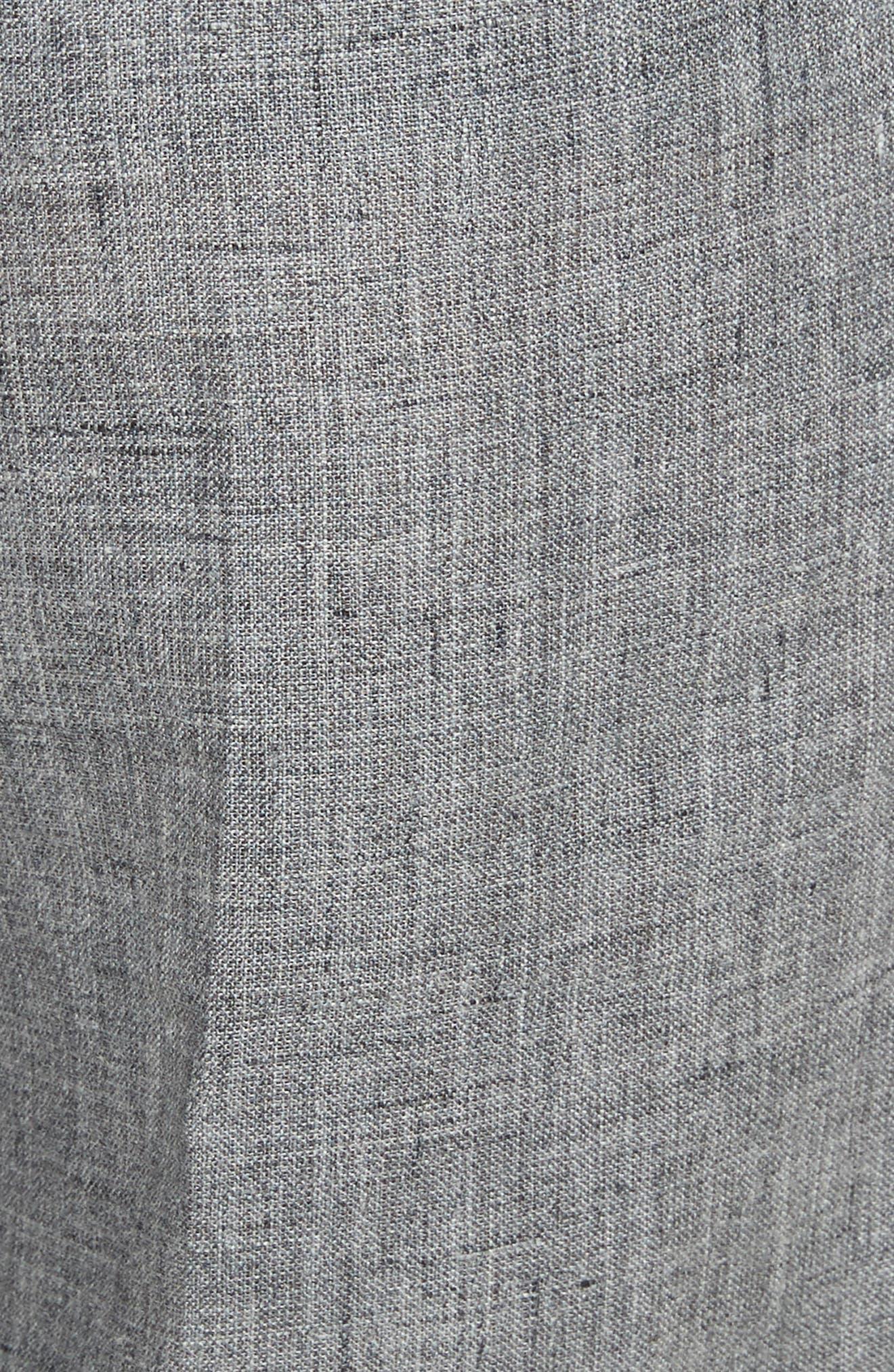 Cross Front Linen Crop Trousers,                             Alternate thumbnail 6, color,                             Banker Melange