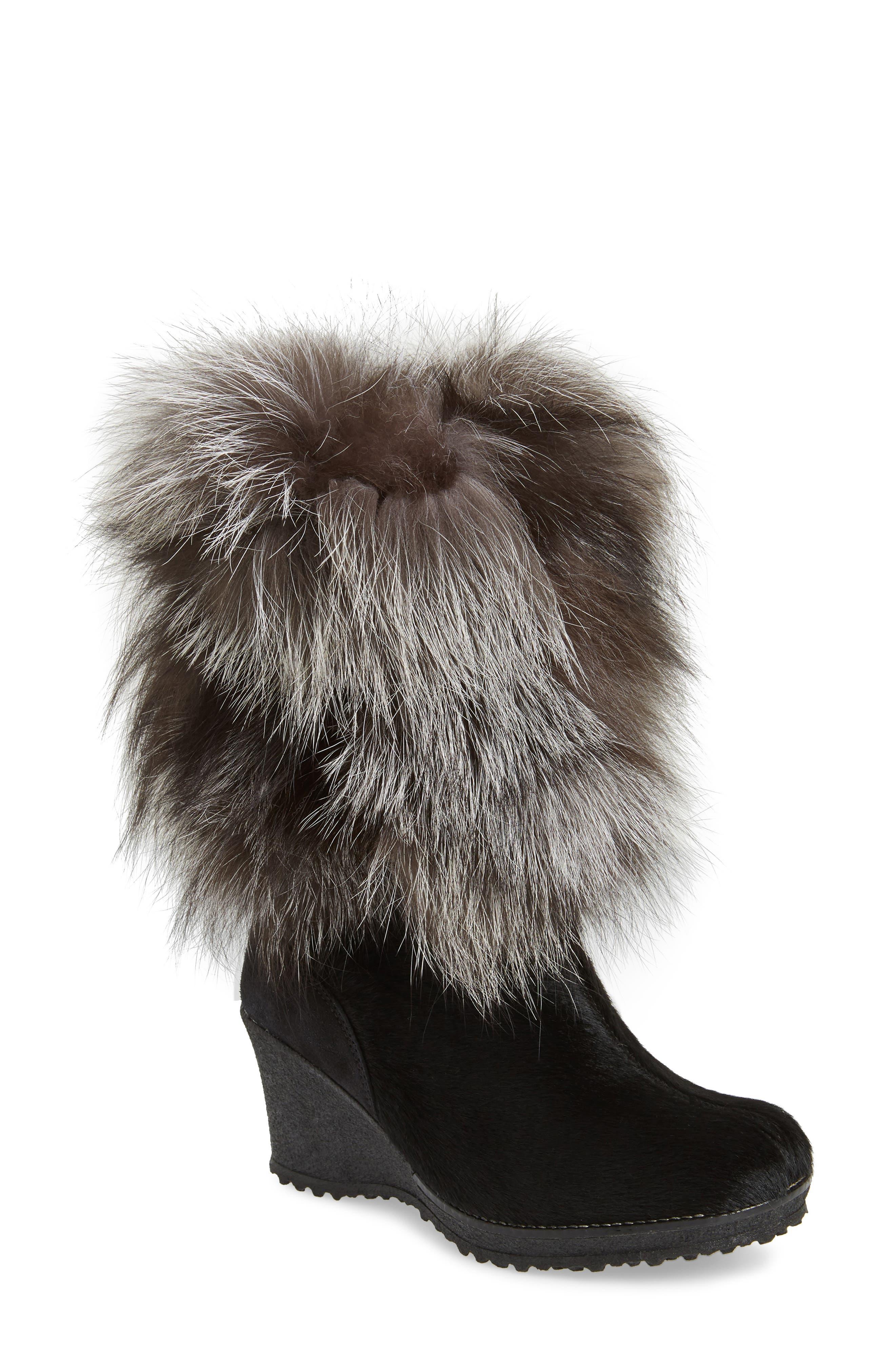 Angelina Genuine Fox Fur Wedge Boot,                         Main,                         color, Black
