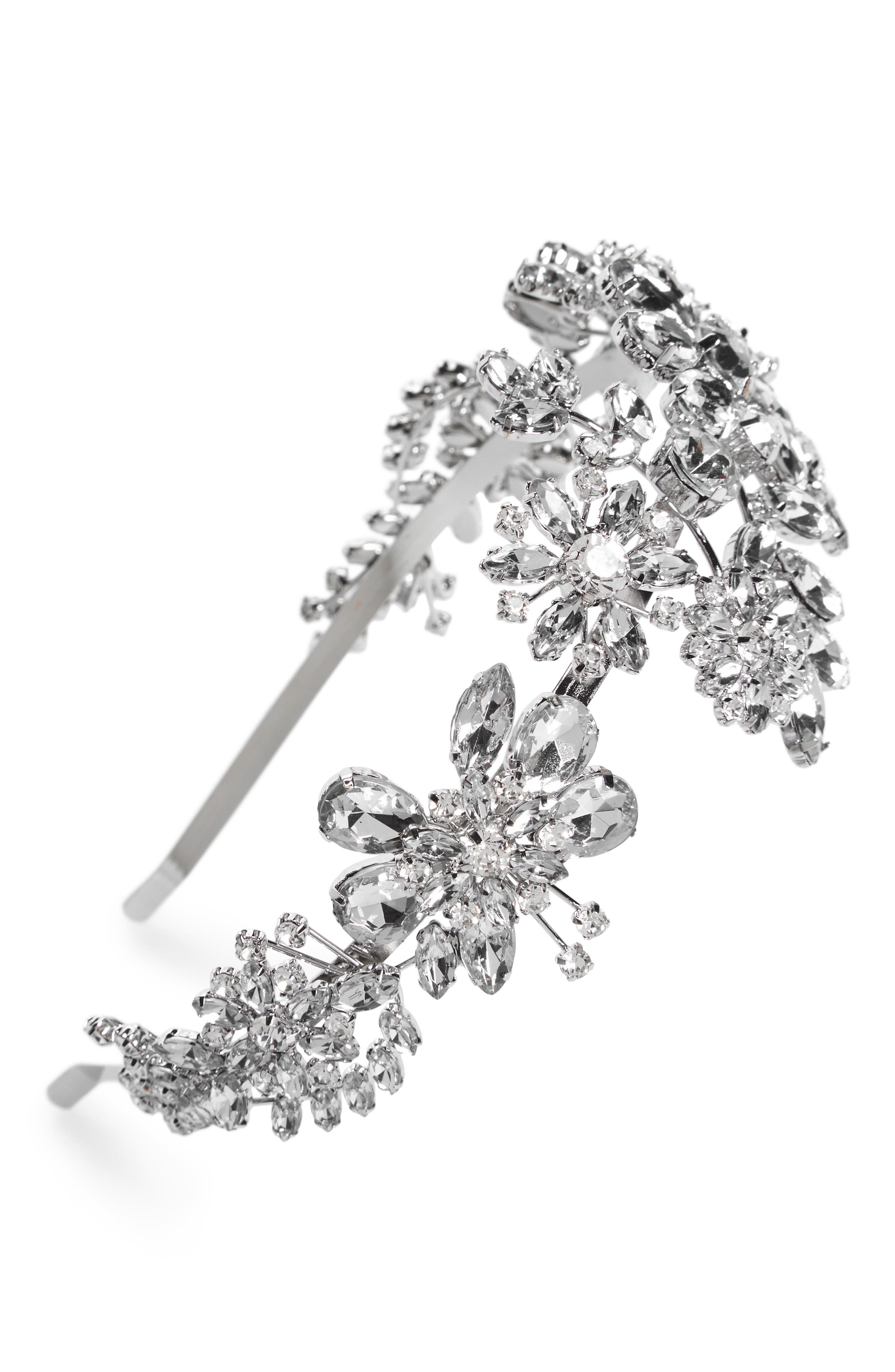 Ornate Crystal Headband,                         Main,                         color, Silver