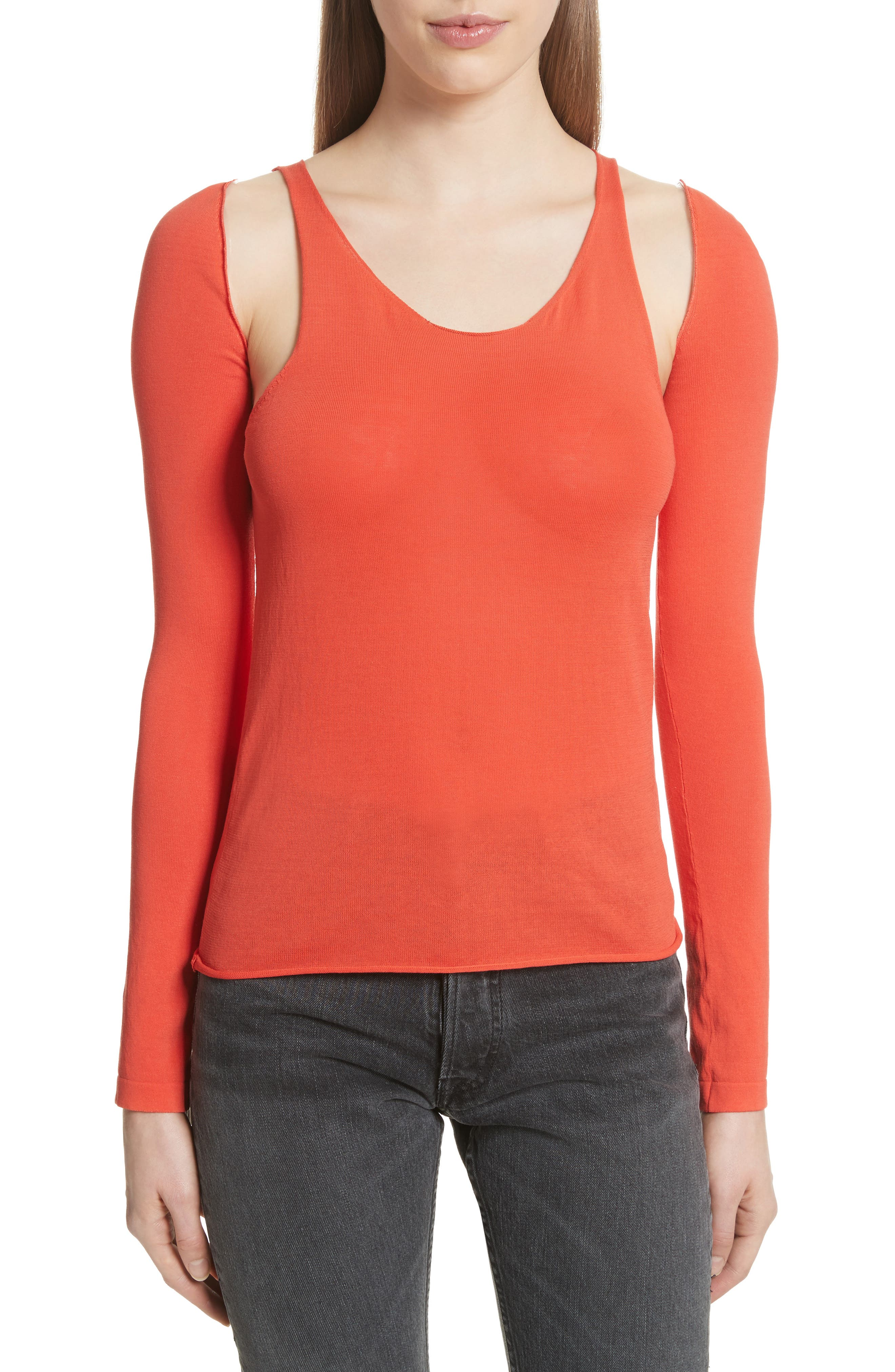 Ribbed Tank Top with Long Sleeves,                         Main,                         color, Archive Orange