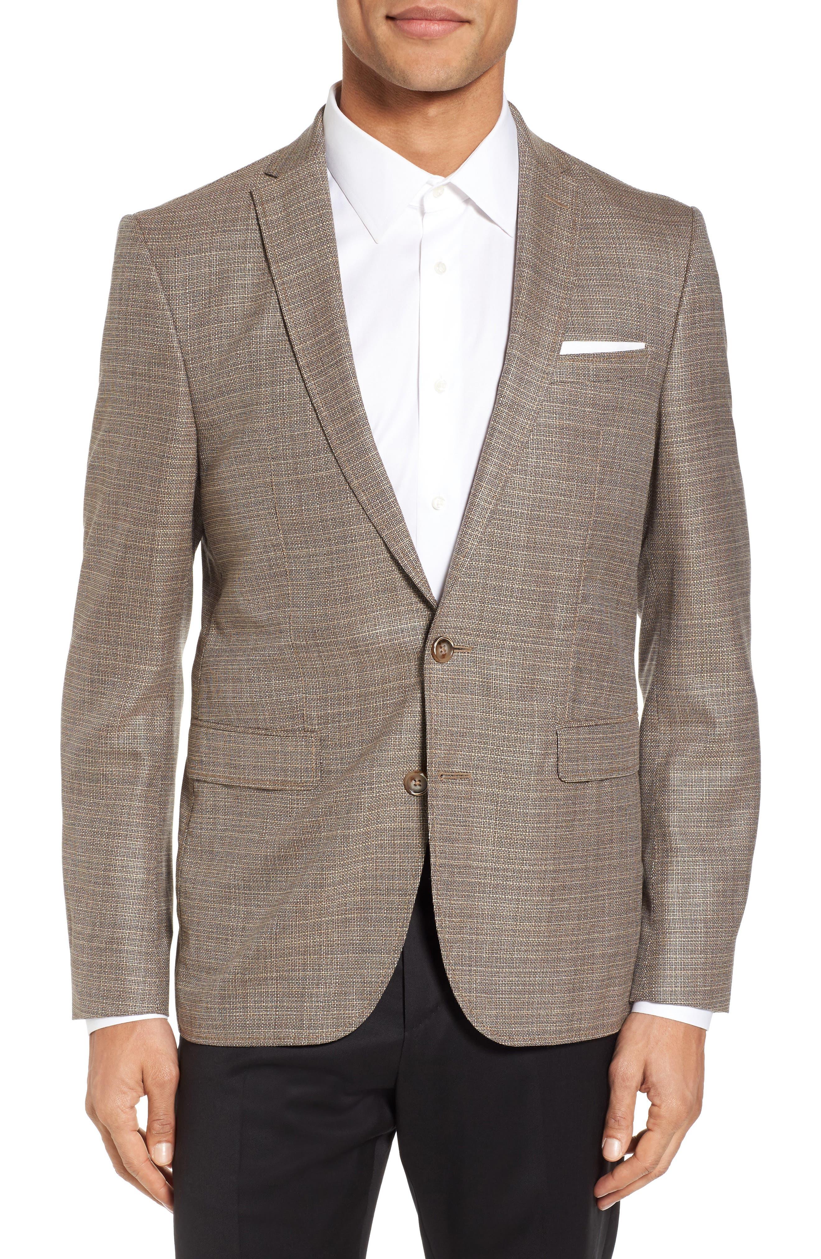 Trim Fit Wool Blazer,                         Main,                         color, Khaki