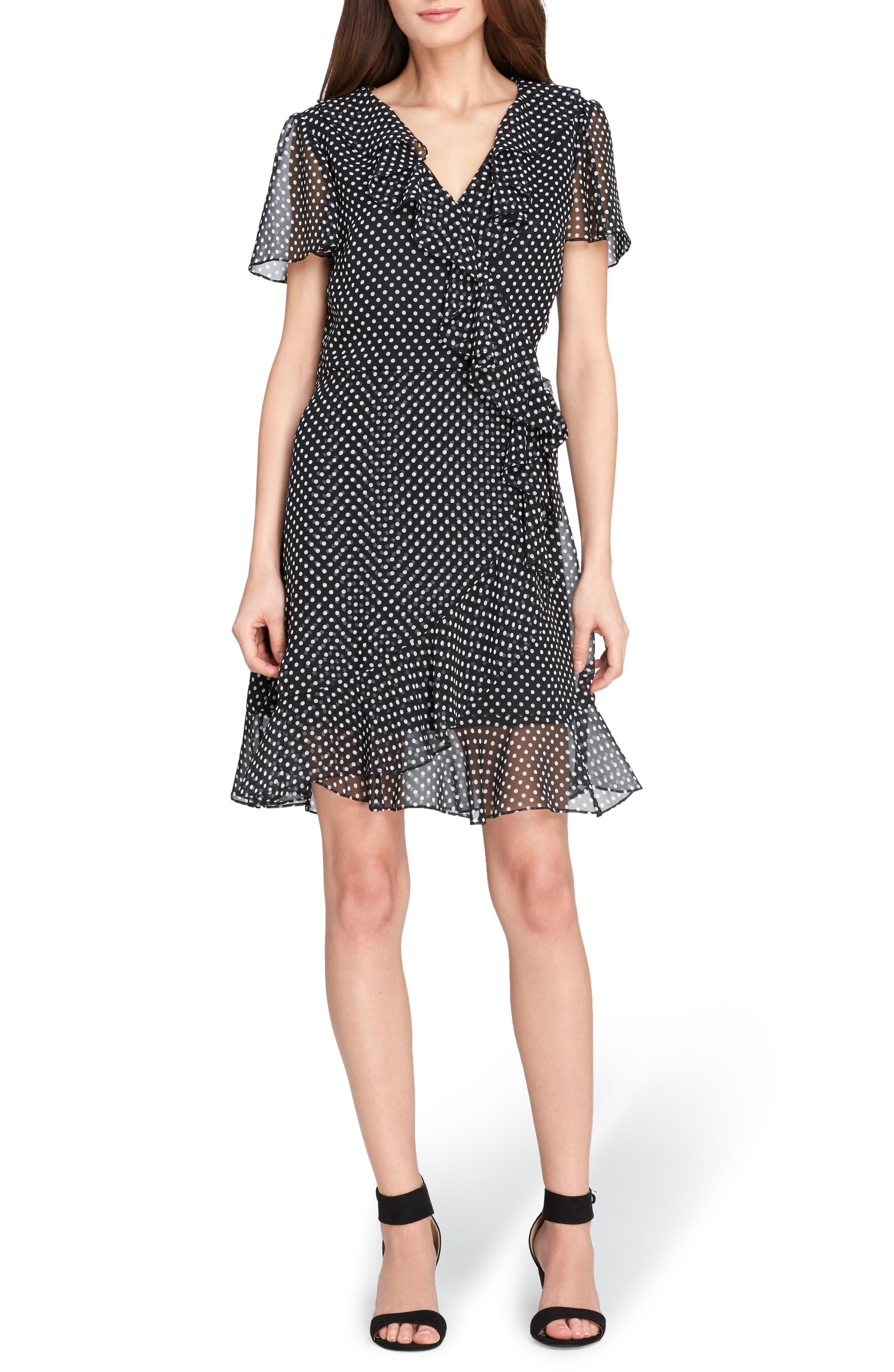 Polka Dot Faux Wrap Ruffle Dress,                             Main thumbnail 1, color,                             Black/ Ivory