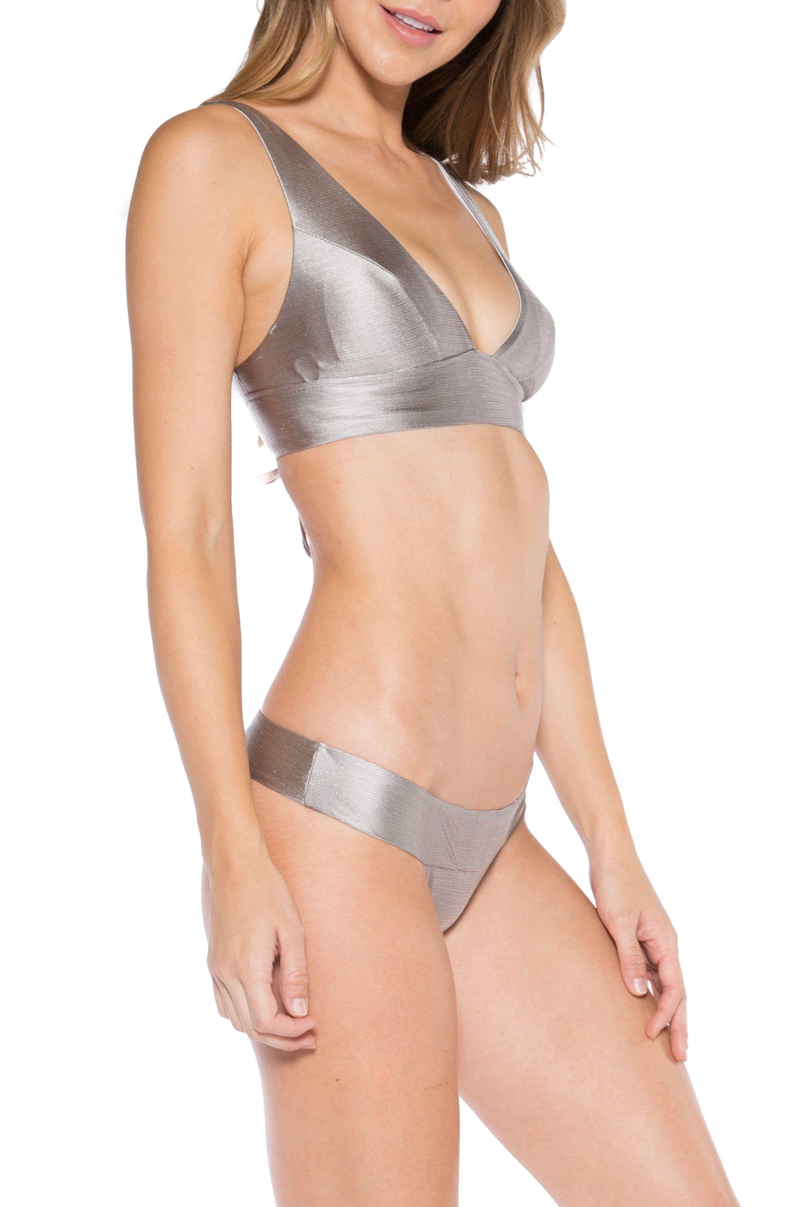 Selena Lace-Up Back Bikini Top,                             Alternate thumbnail 6, color,                             Sand Dollar