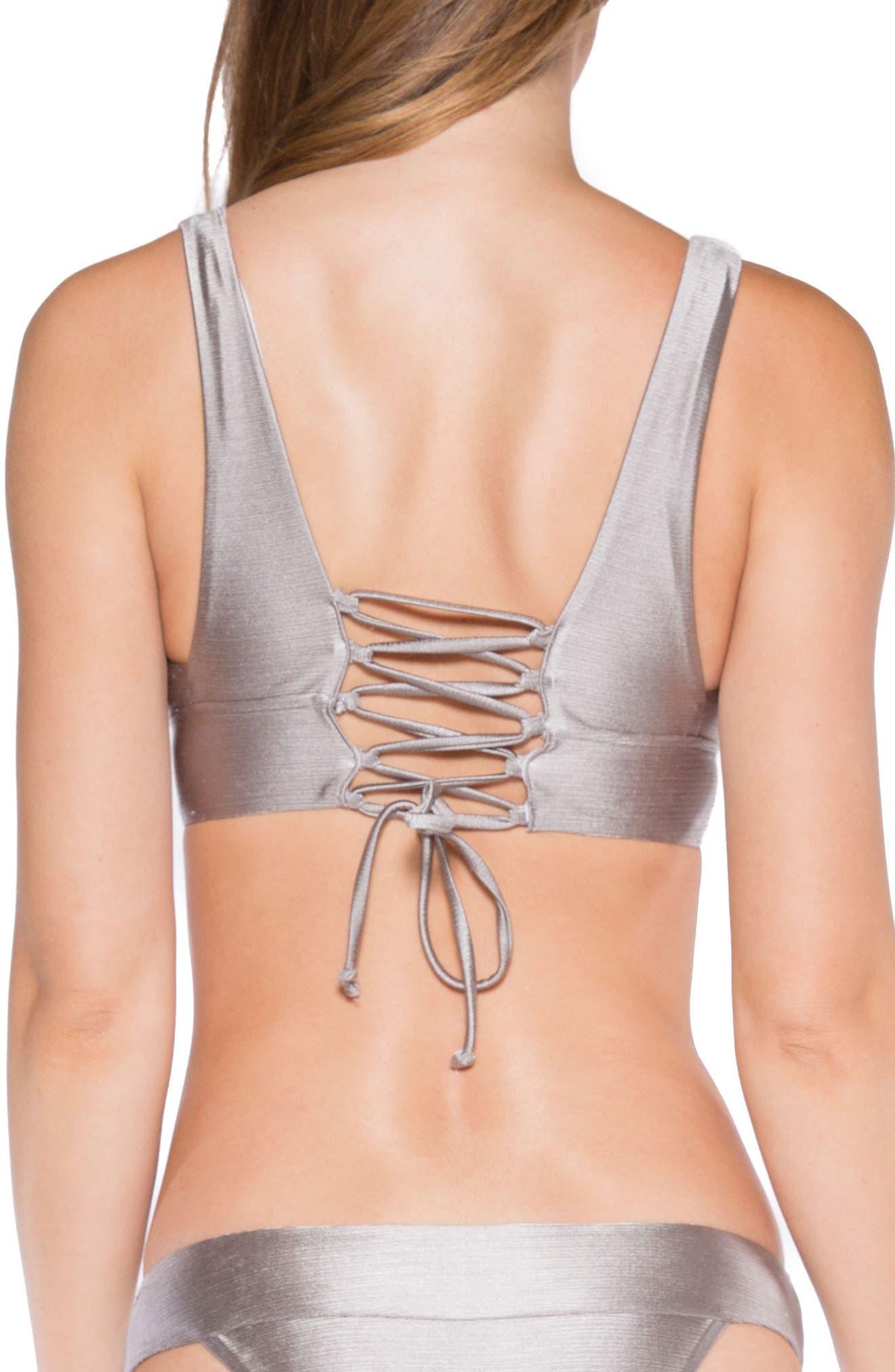 Selena Lace-Up Back Bikini Top,                             Alternate thumbnail 2, color,                             Sand Dollar