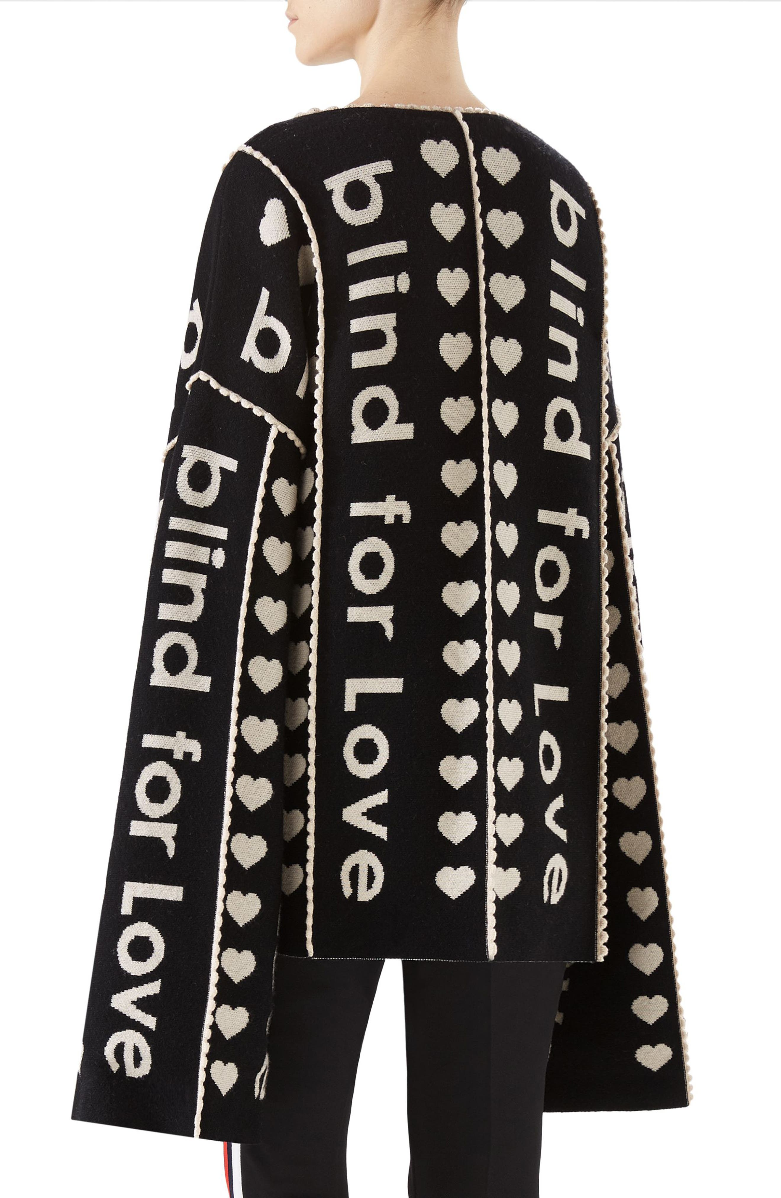 Blind for Love Jacquard Sweater Coat,                             Alternate thumbnail 2, color,                             Black