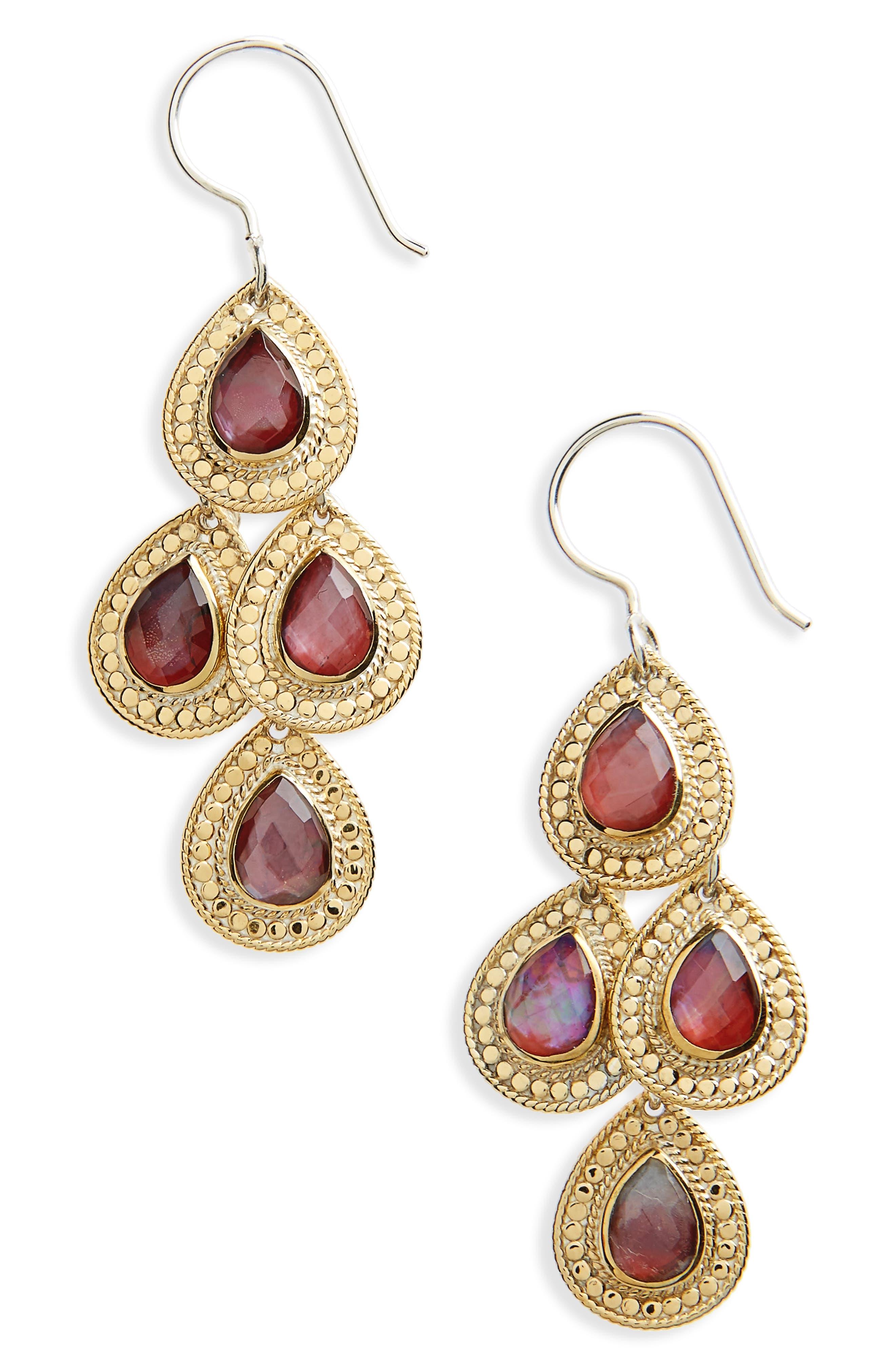 Stone Chandelier Earrings,                         Main,                         color, Gold/ Silver/ Garnet