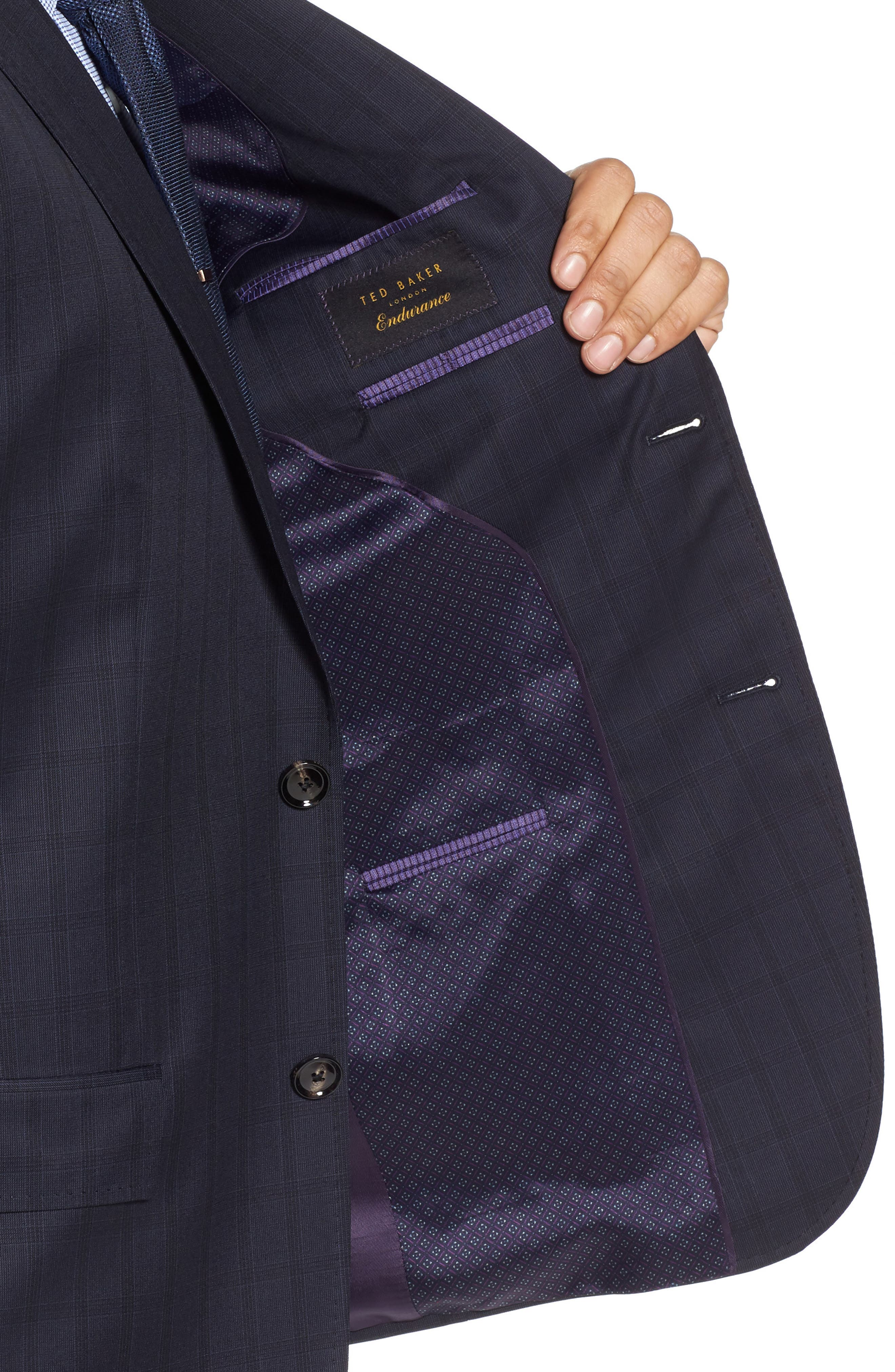 Jay Trim Fit Check Wool Suit,                             Alternate thumbnail 4, color,                             Navy