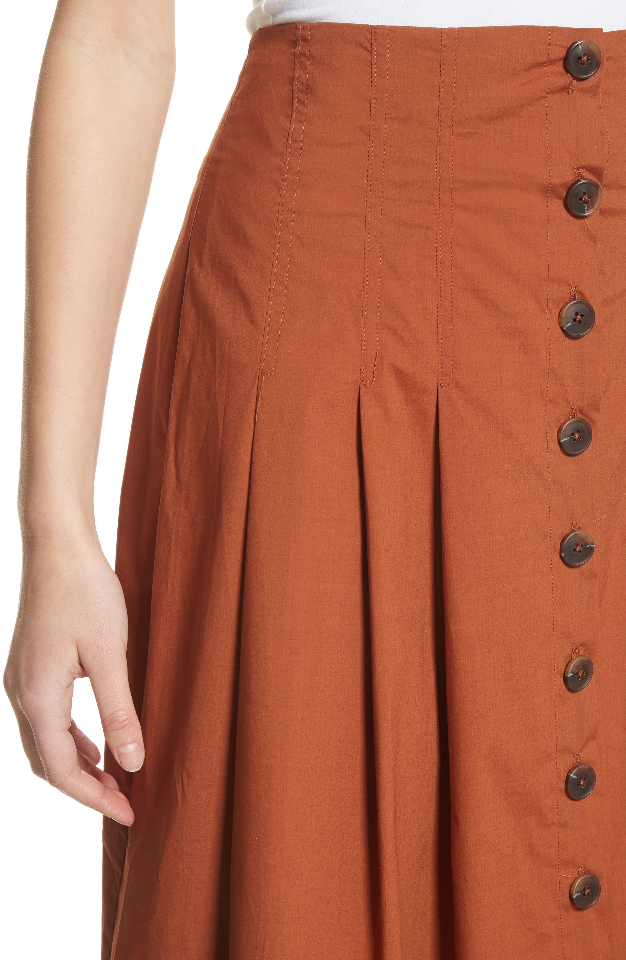 Azalia Button Front Poplin Midi Skirt,                             Alternate thumbnail 4, color,                             Walnut