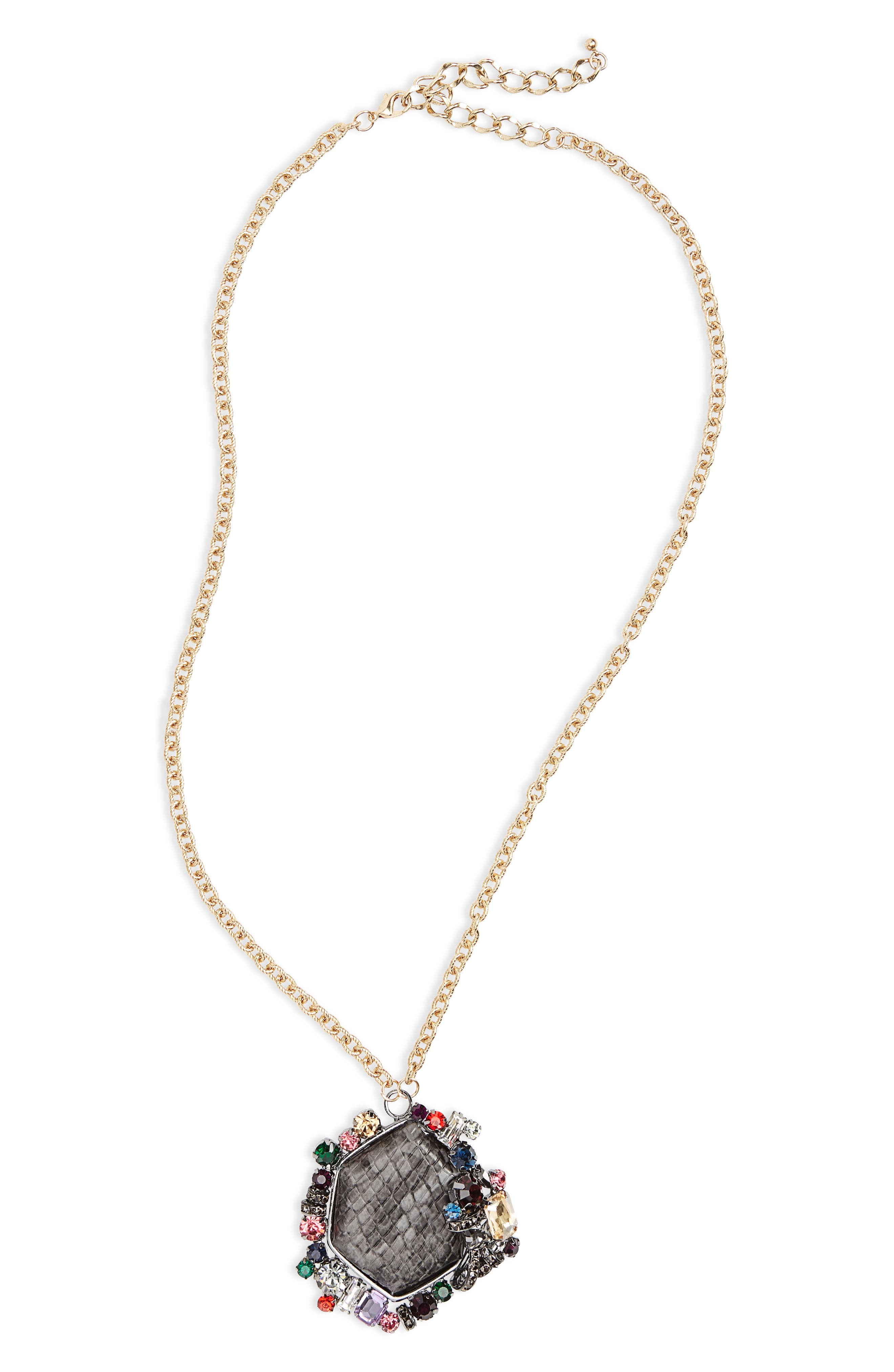 Crystal Pendant Necklace,                         Main,                         color, Gold Multi