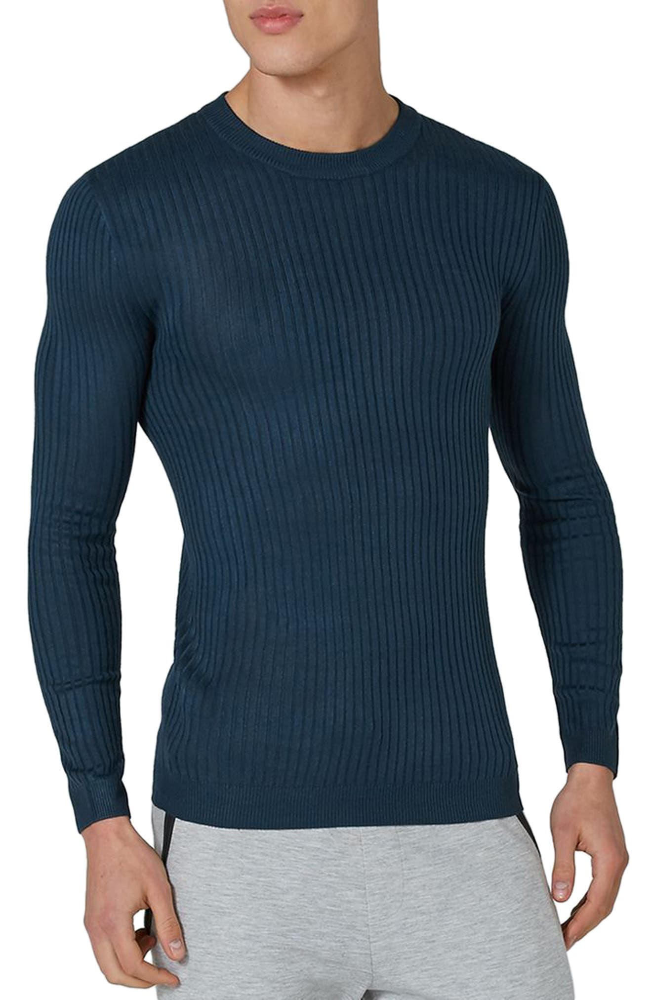 Ribbed Muscle Fit Sweater,                         Main,                         color, Mid Blue