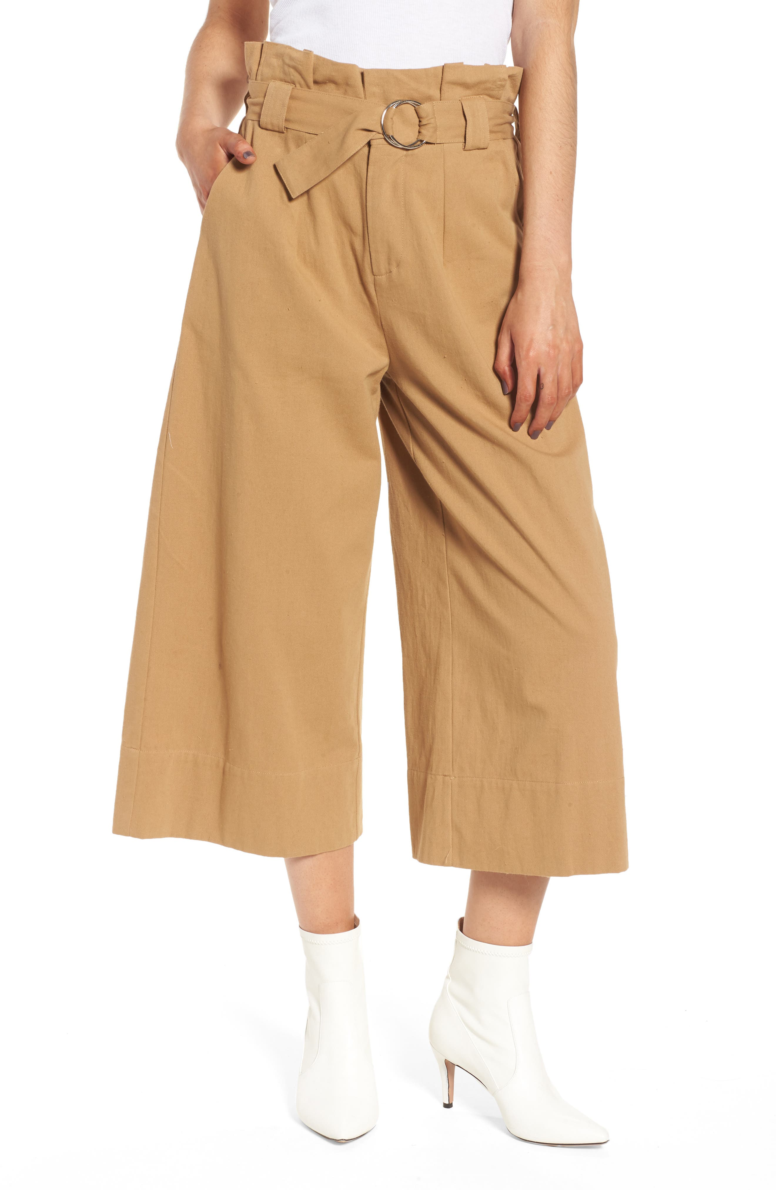 Paperbag Waist Crop Pants,                             Main thumbnail 1, color,                             Khaki