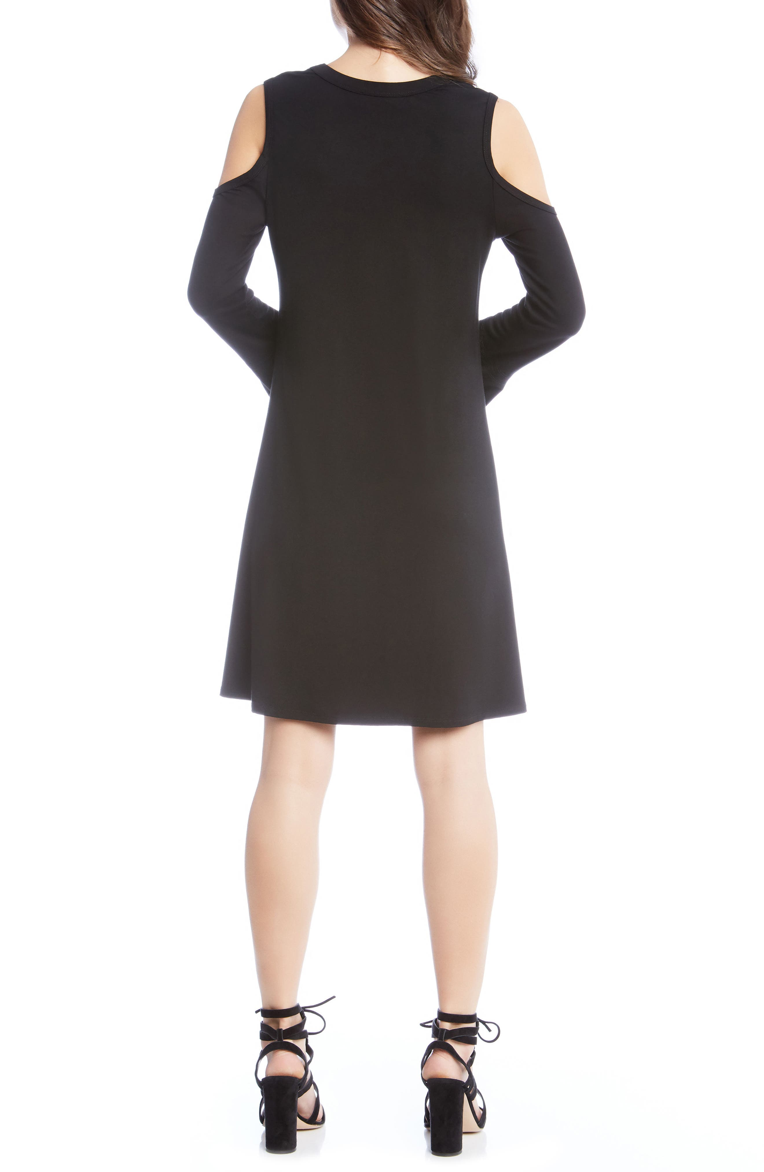 Cold Shoulder A-Line Dress,                             Alternate thumbnail 3, color,                             Black
