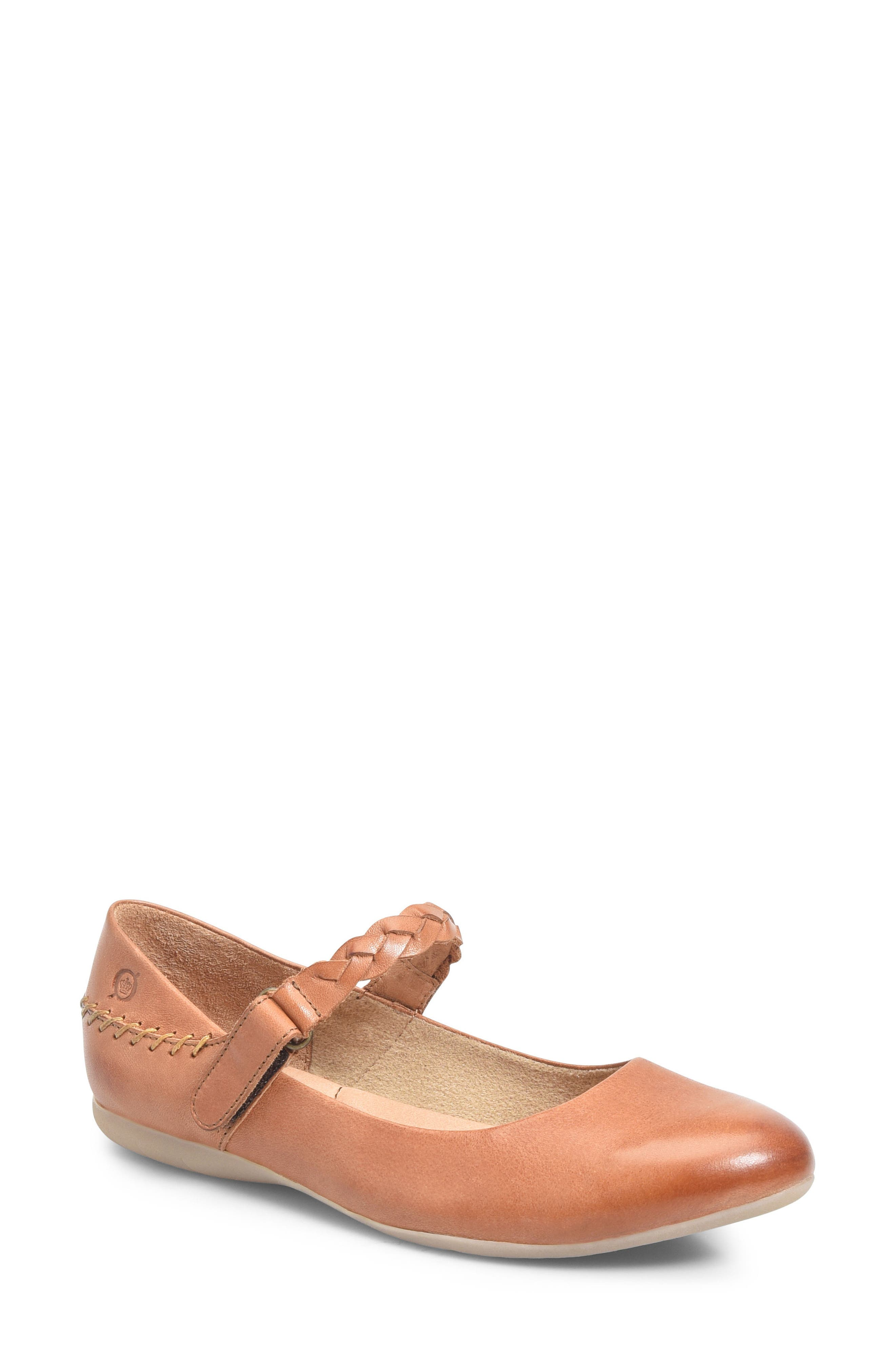 Mary Jane Flat,                         Main,                         color, Rust Leather