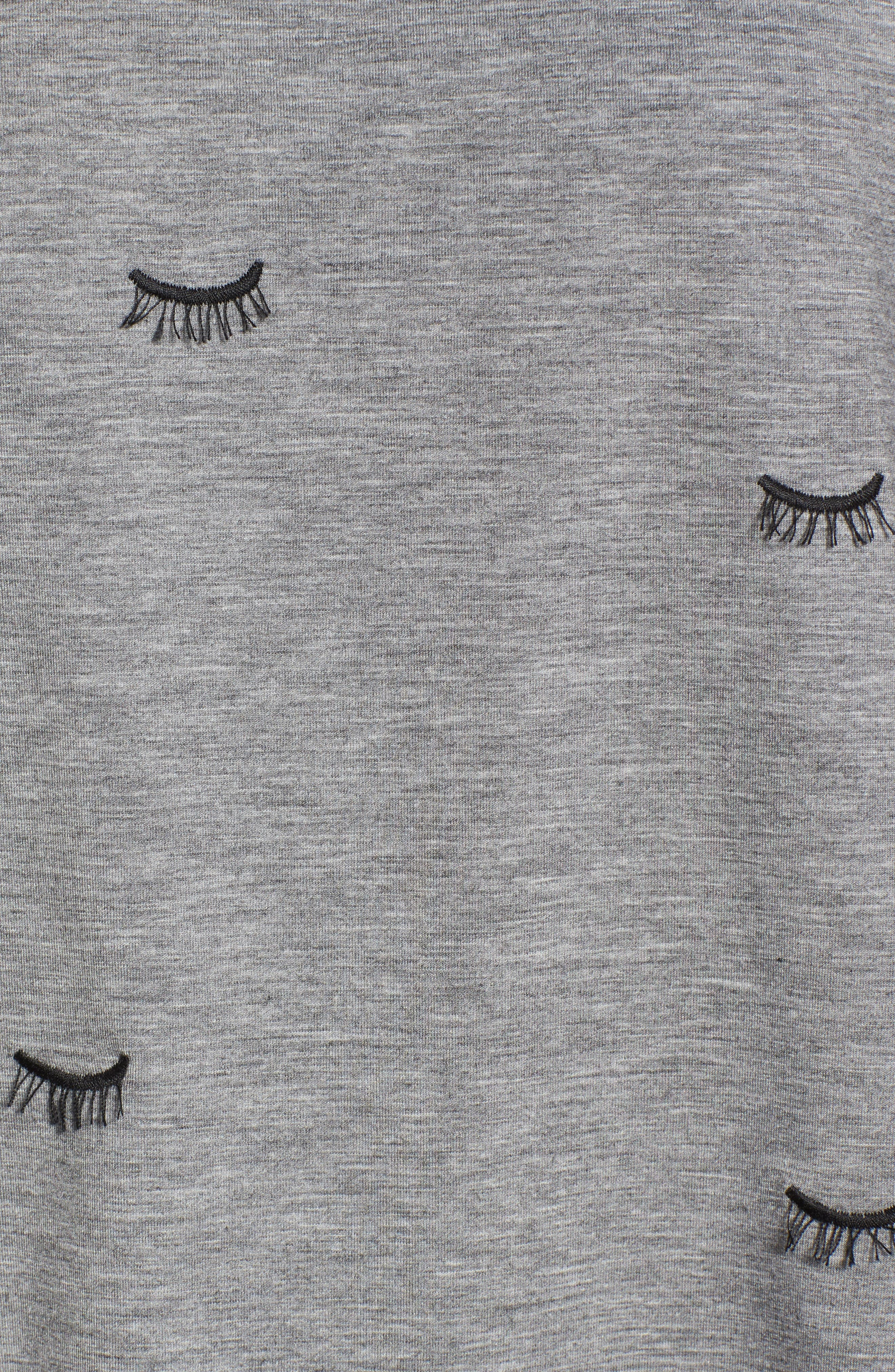 Embroidered Eyelash Tee,                             Alternate thumbnail 5, color,                             Grey