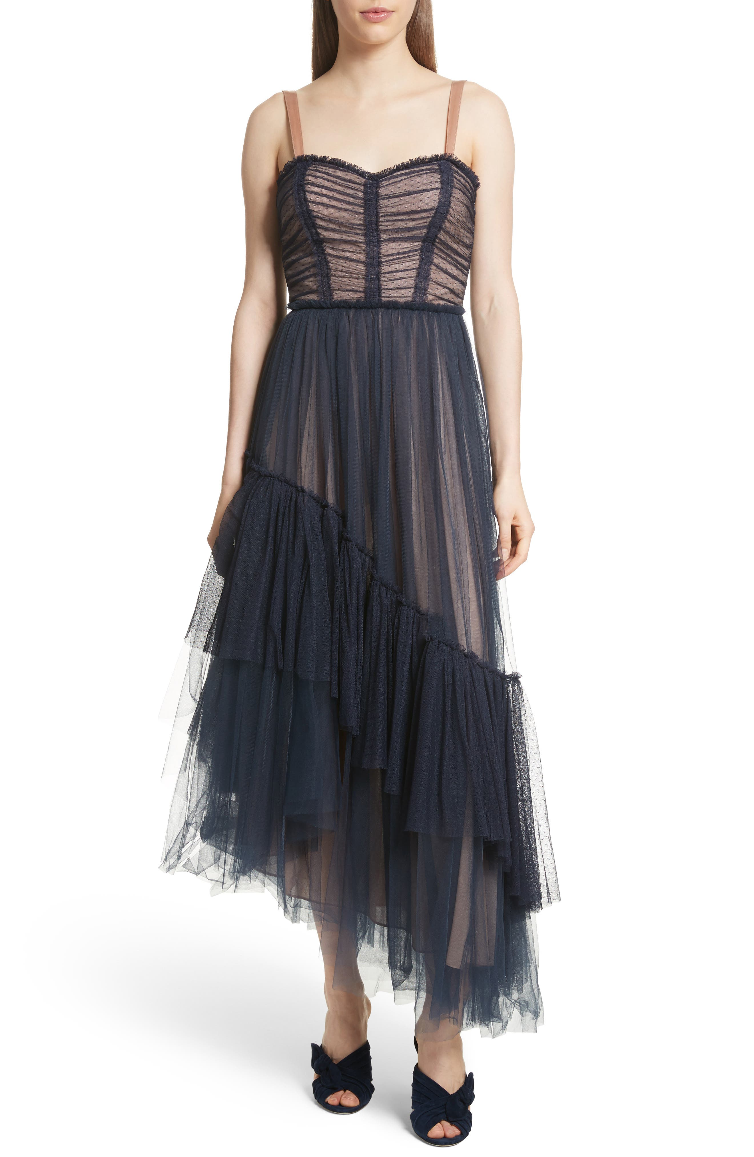 Coletta Asymmetrical Tulle Dress,                             Main thumbnail 1, color,                             Navy