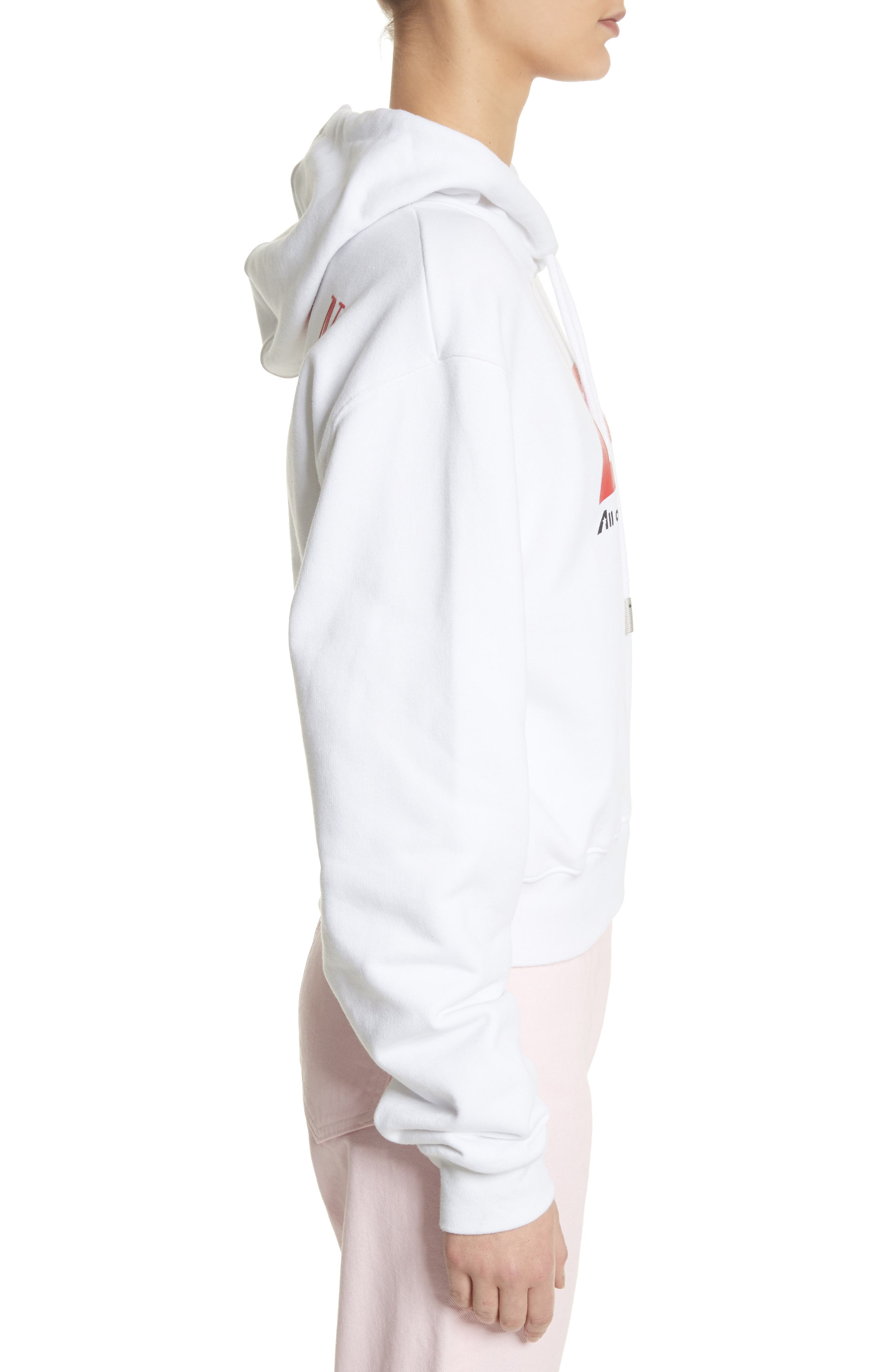OFFF Crop Hoodie,                             Alternate thumbnail 4, color,                             White Red
