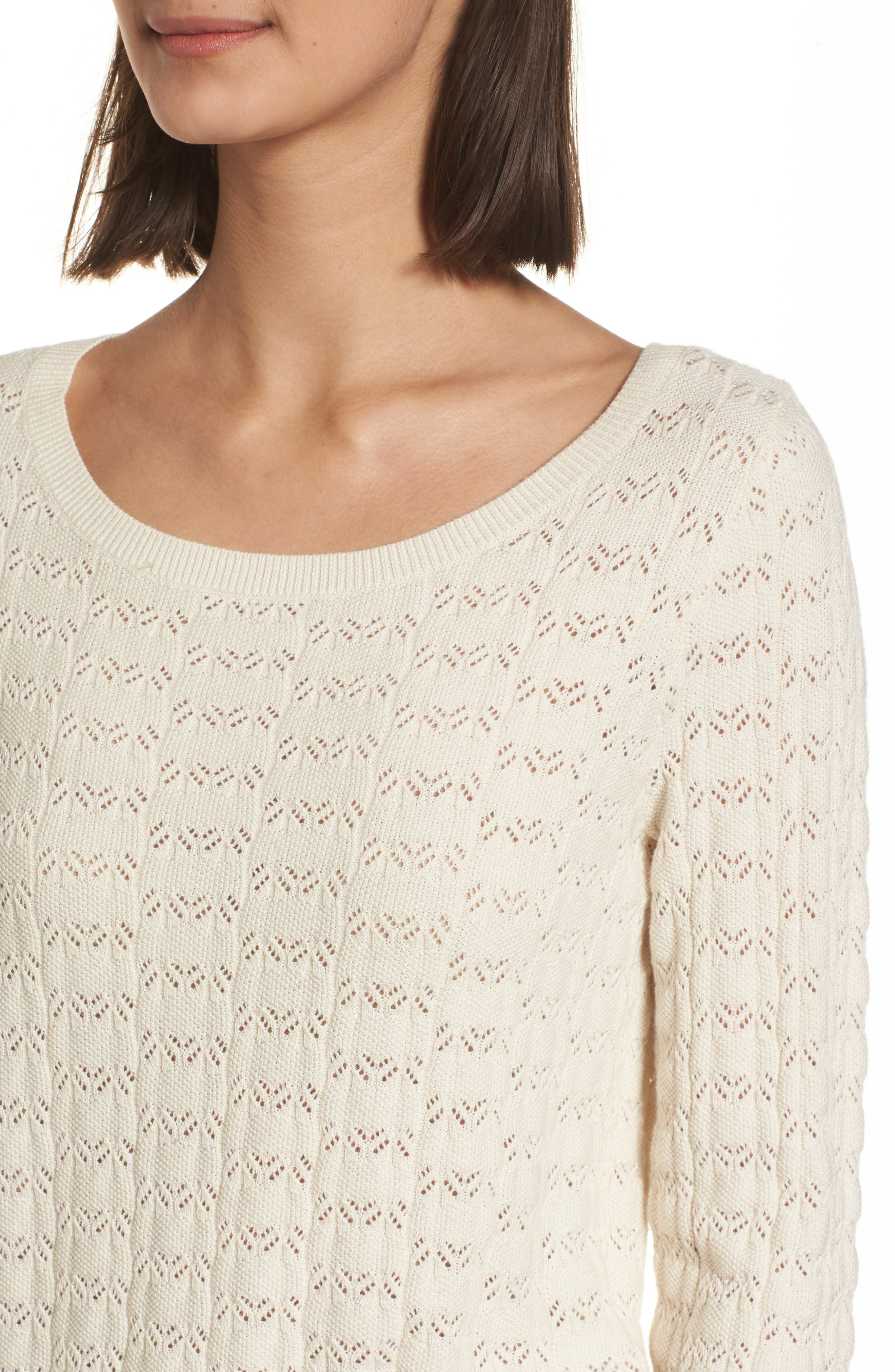 Pointelle Crop Sweater,                             Alternate thumbnail 4, color,                             Ivory Birch