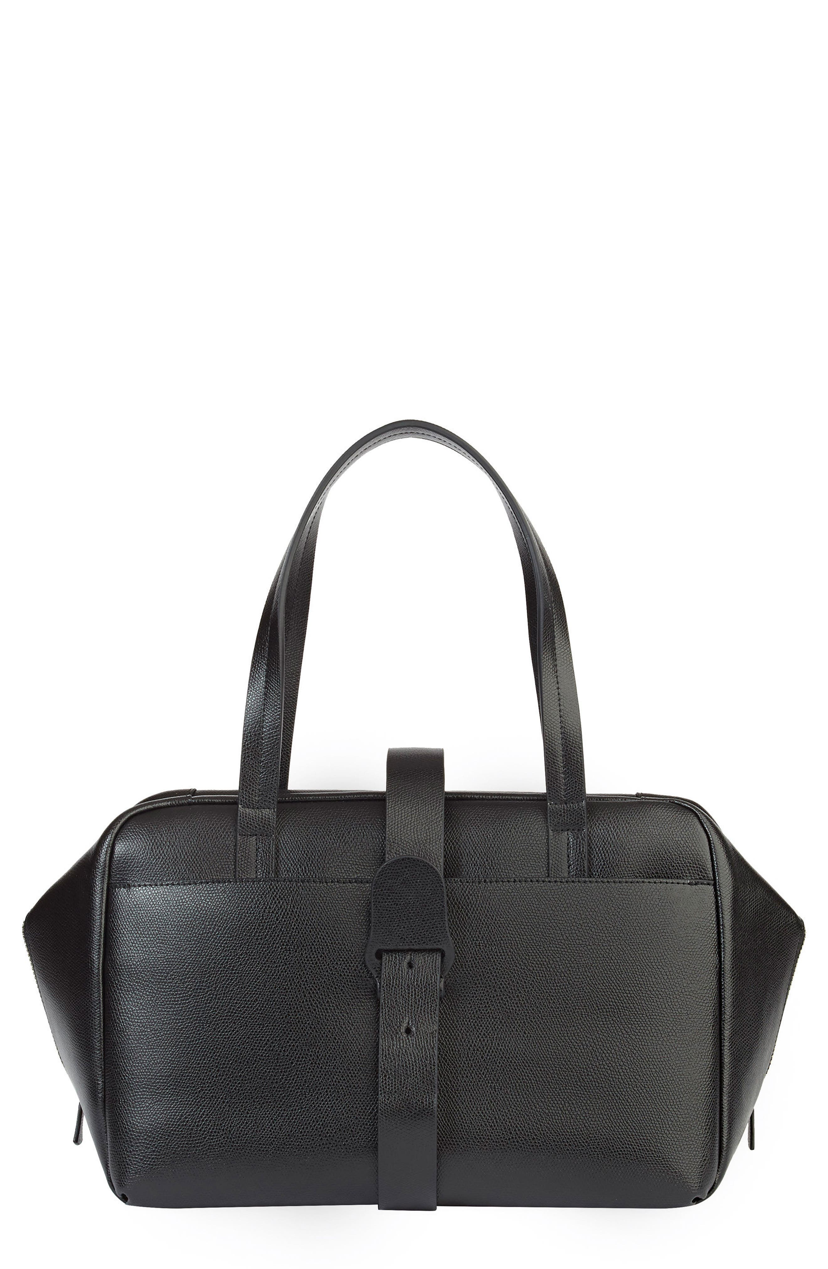 Senreve THE DOCTOR WATER RESISTANT TEXTURED LEATHER SATCHEL - BLACK