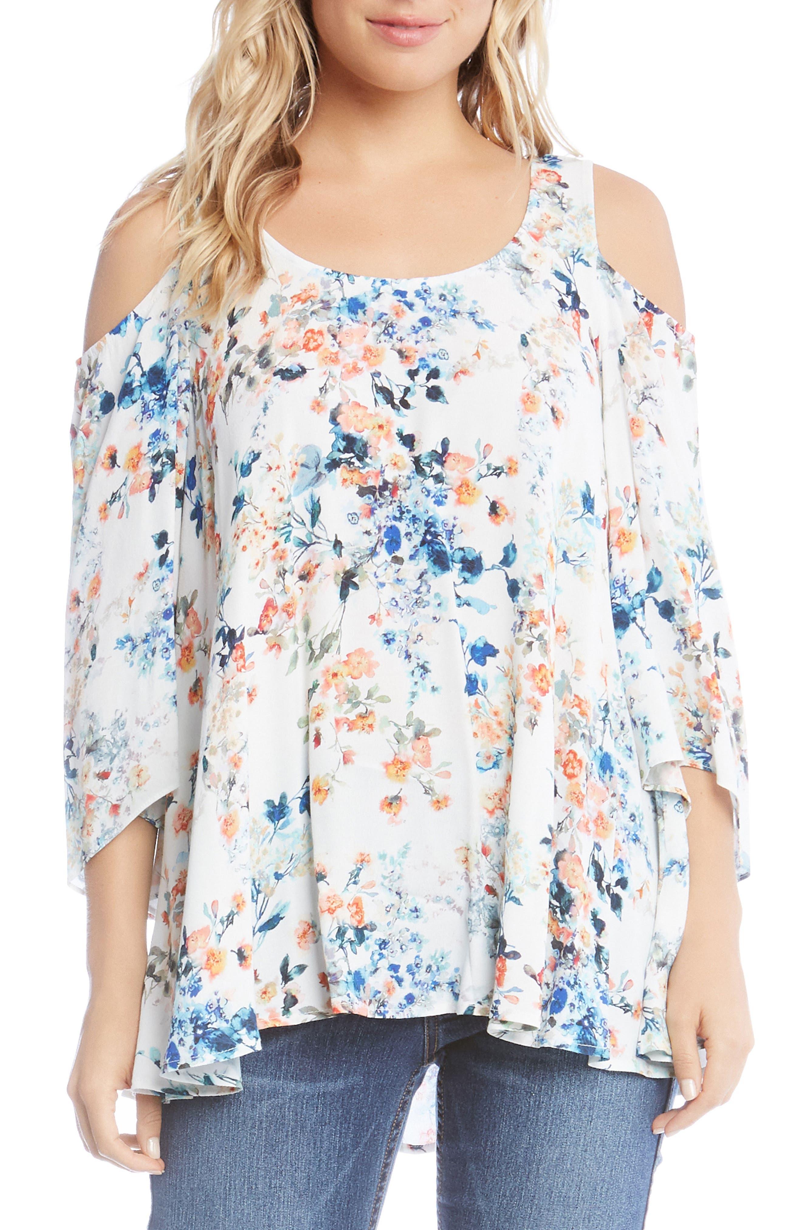 Alternate Image 1 Selected - Karen Kane Cold Shoulder Floral Top