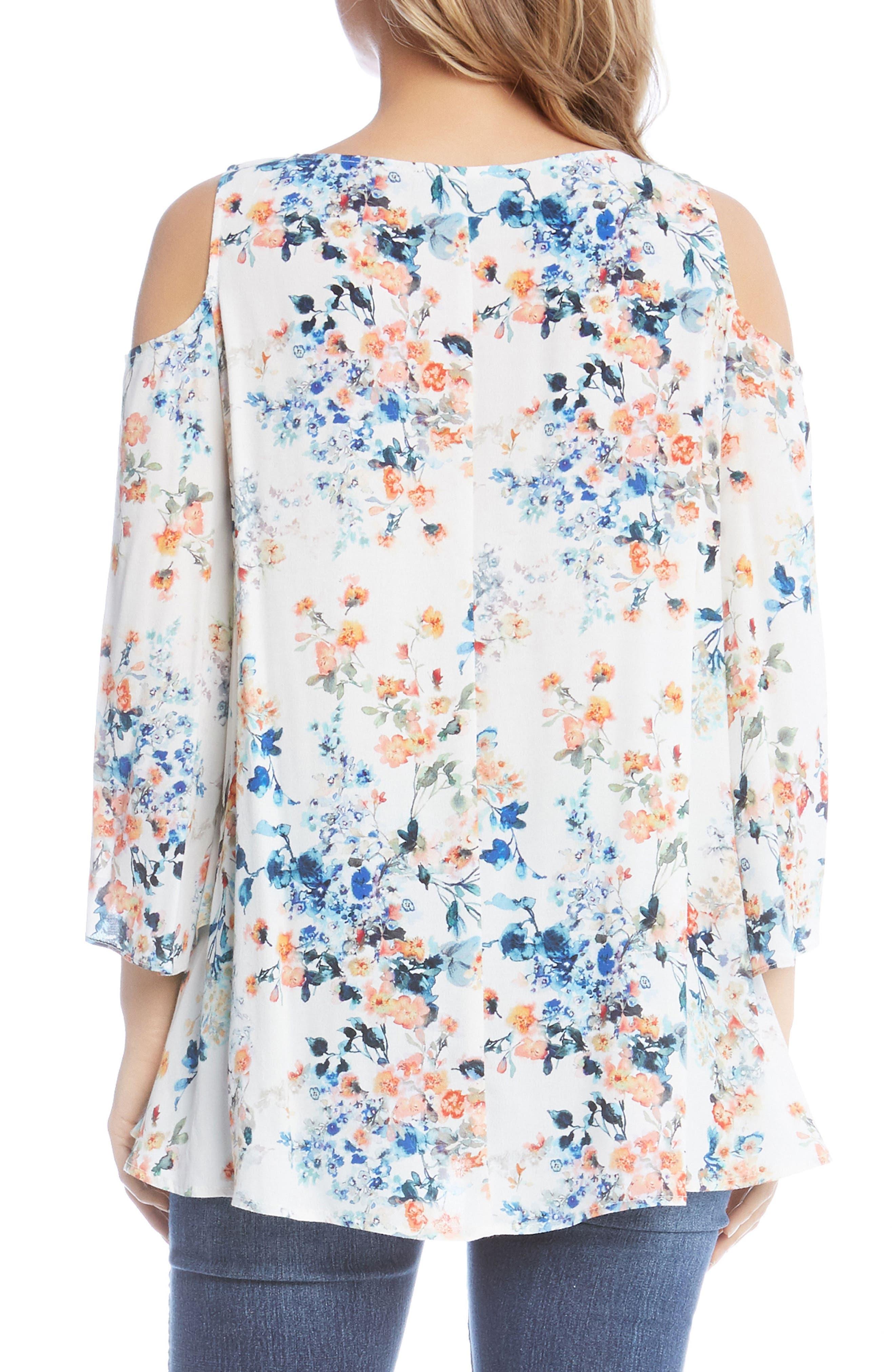 Alternate Image 3  - Karen Kane Cold Shoulder Floral Top