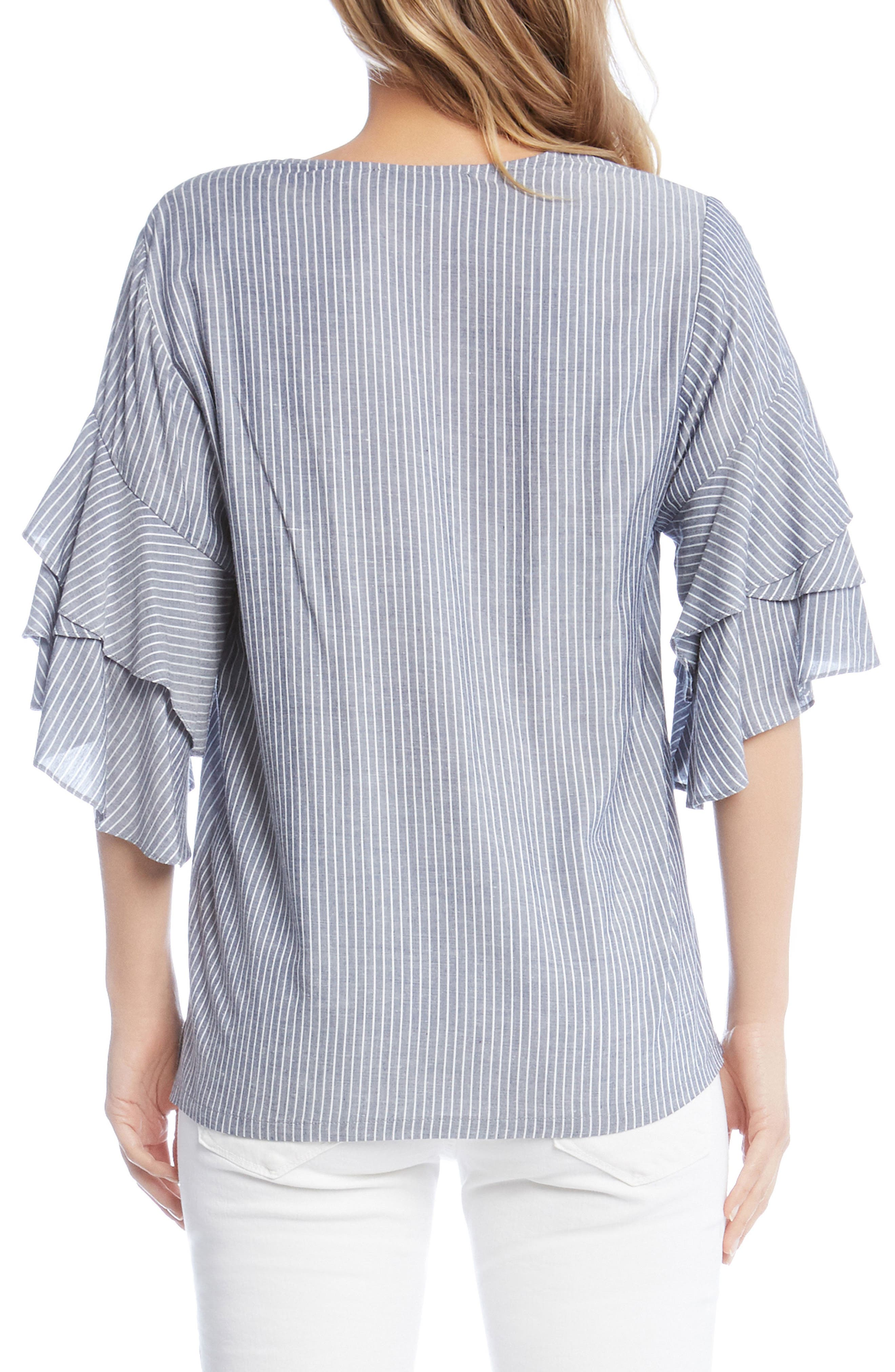 Ruffled Stripe Chambray Top,                             Alternate thumbnail 3, color,                             Striped
