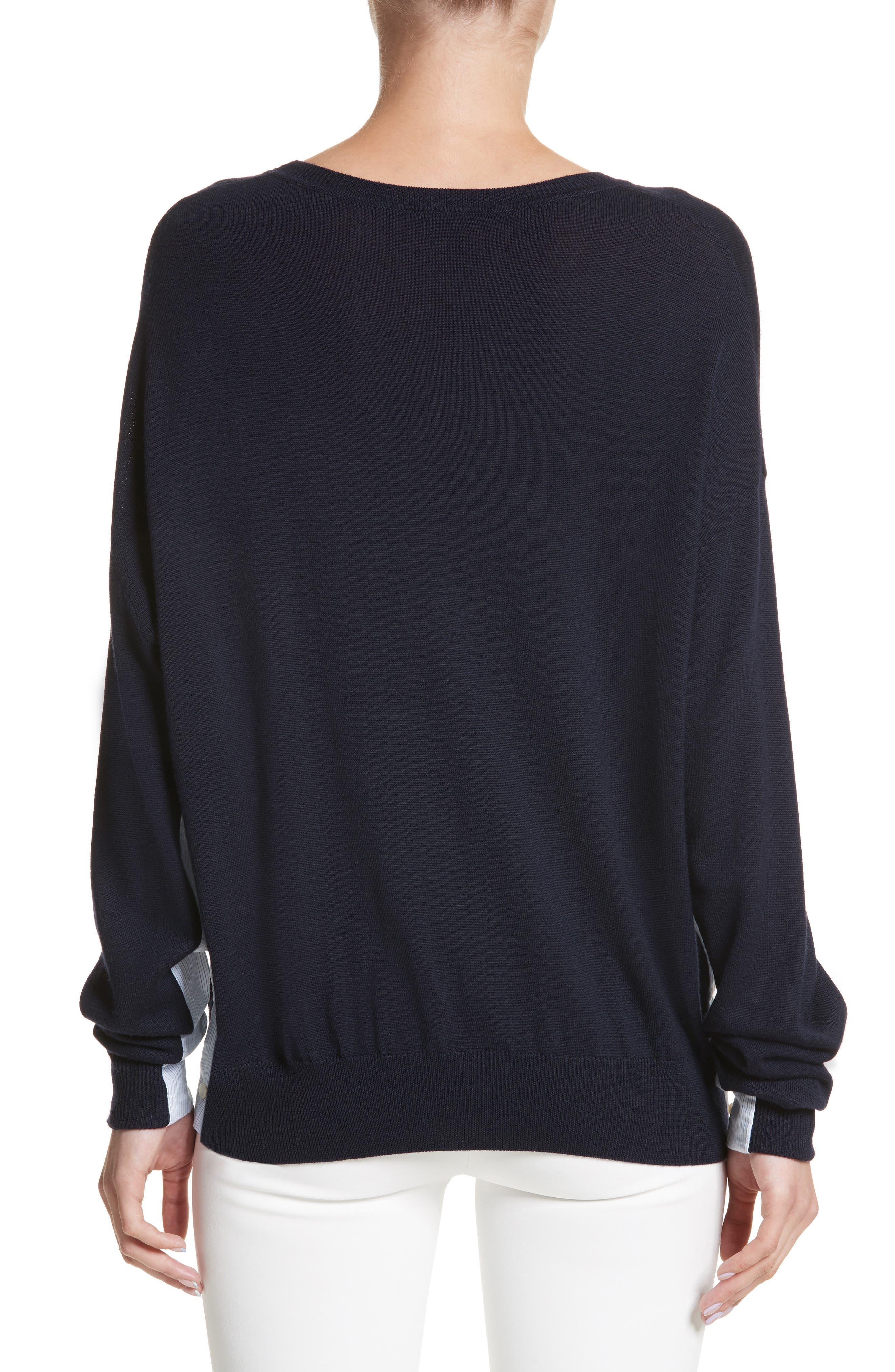 Alternate Image 2  - Adam Lippes Cotton Gusset Merino Wool Sweater
