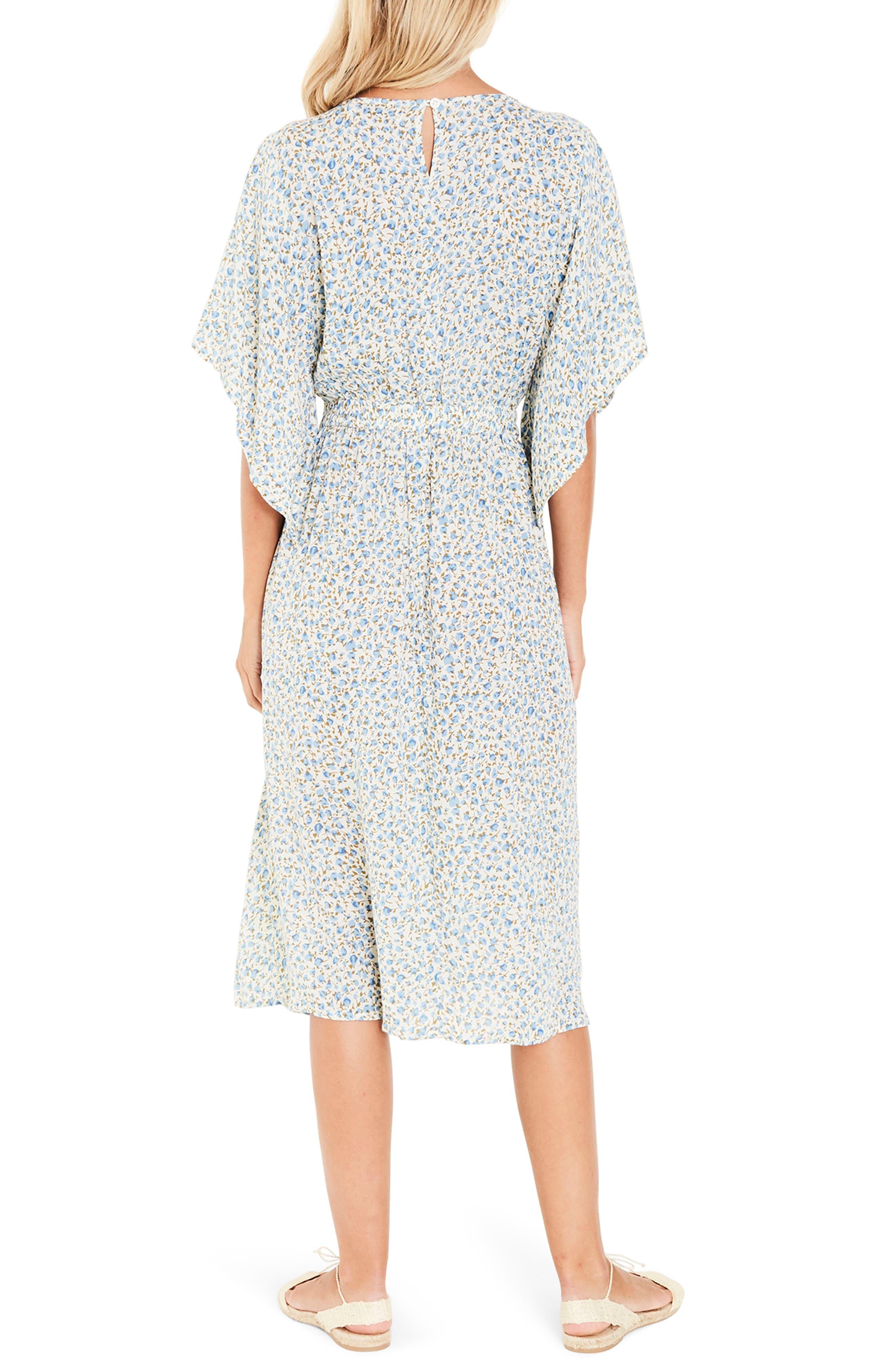 Massimo Tie Front Midi Dress,                             Alternate thumbnail 3, color,                             Dahlia Floral Print
