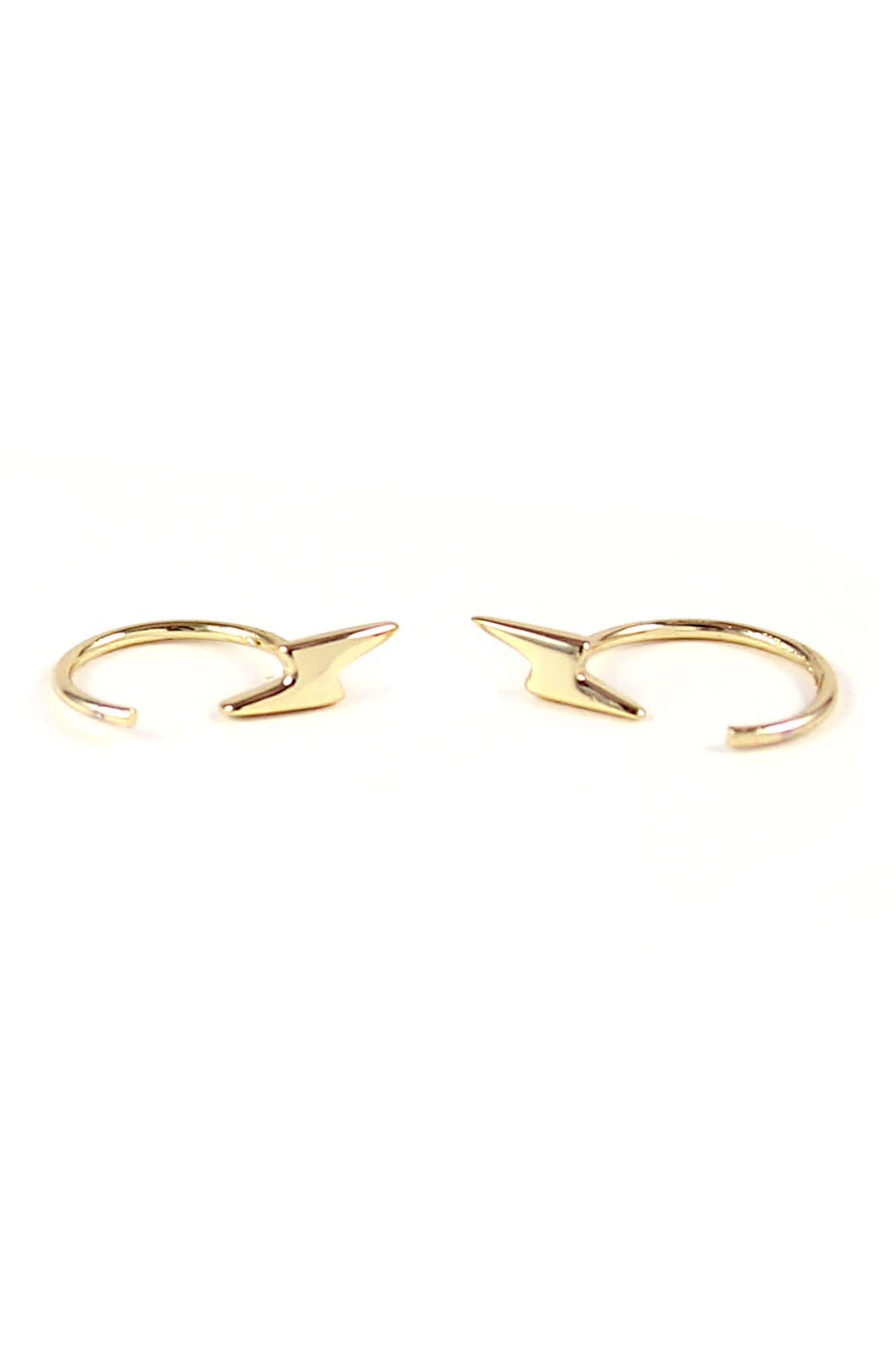 Tiny Lightning Stud Hoop Earrings,                         Main,                         color, Gold