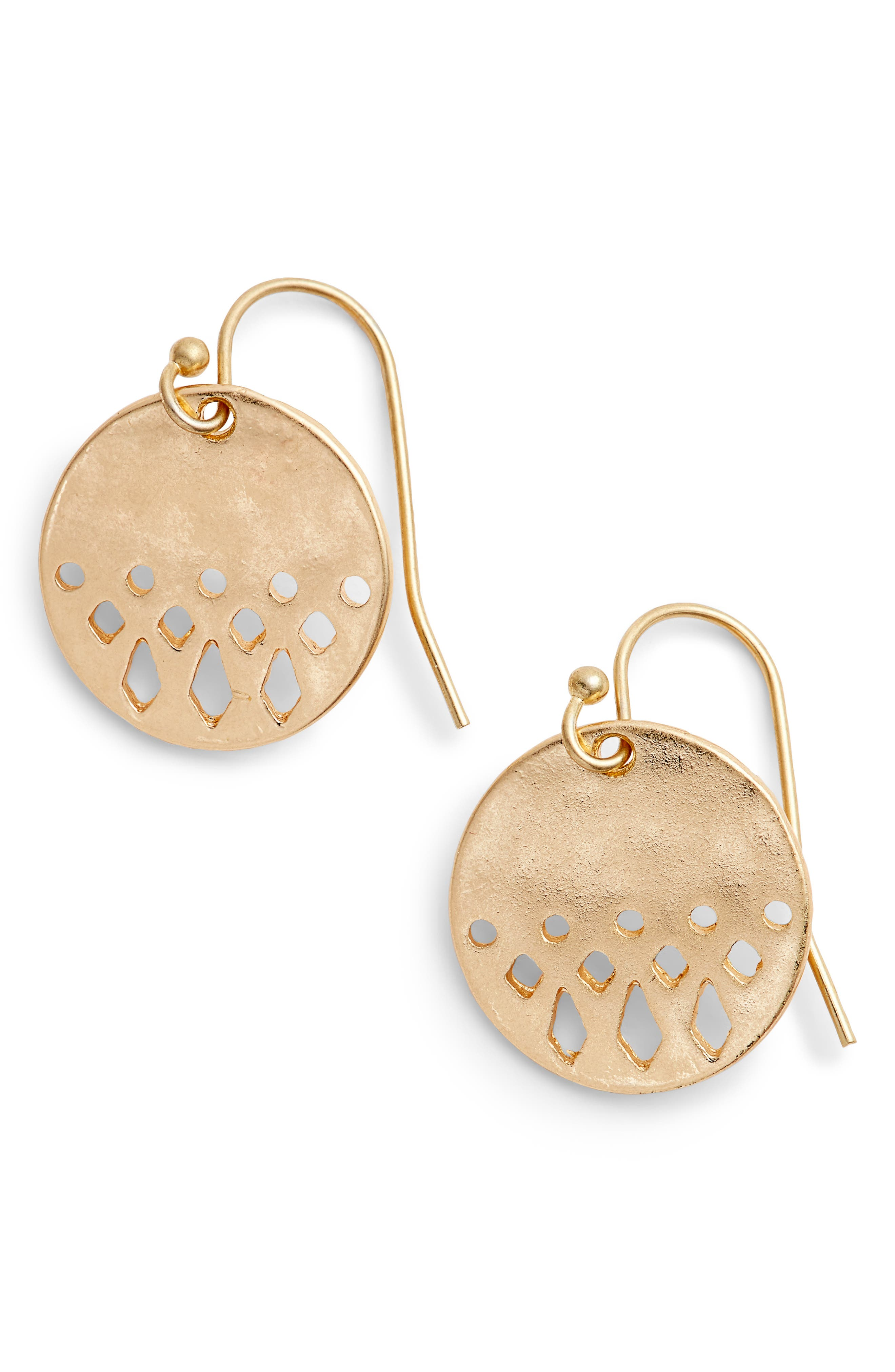 Disc Drop Earrings,                         Main,                         color, Gold