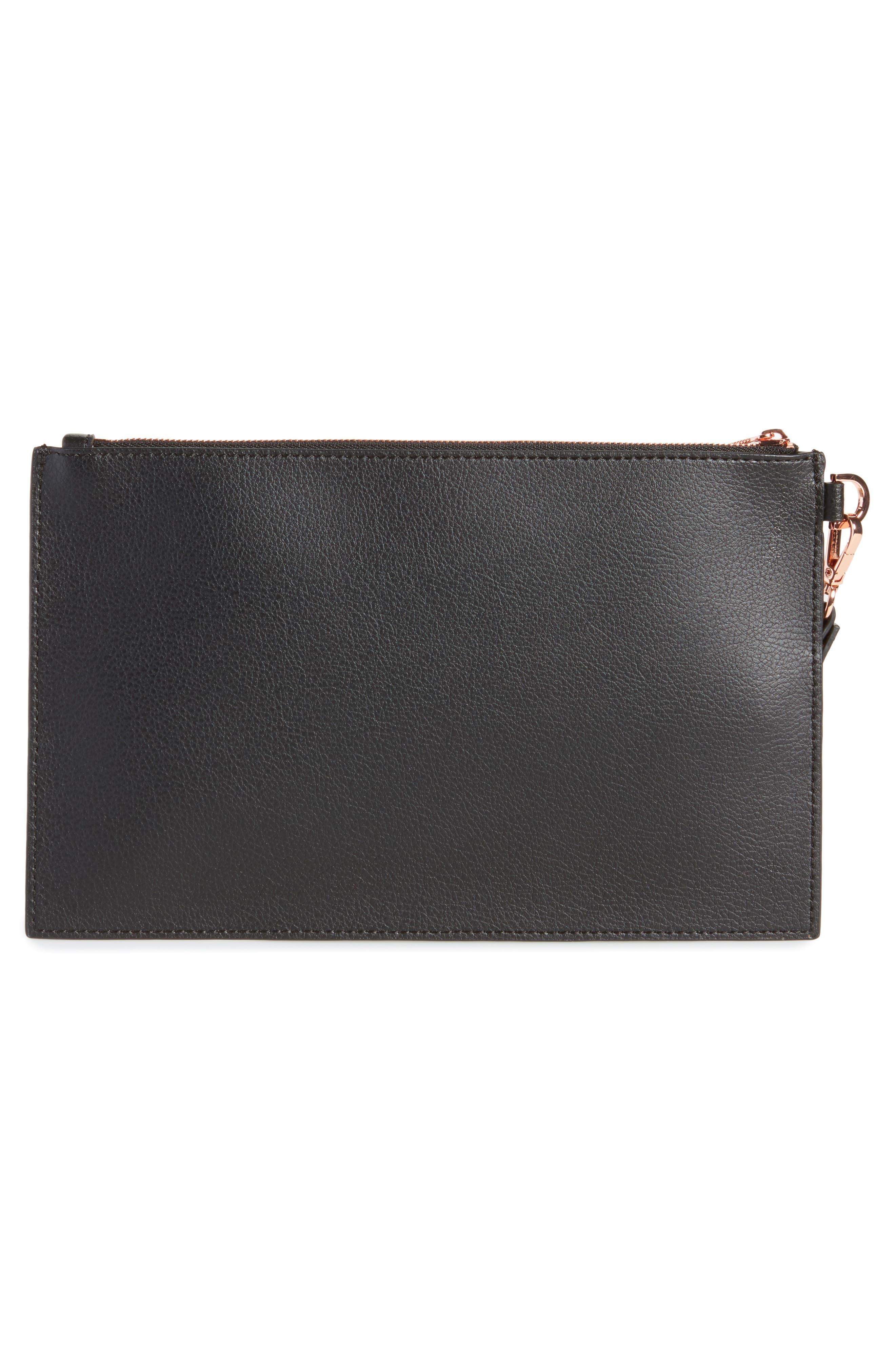 Top Zip Faux Leather Pouch,                             Alternate thumbnail 3, color,                             Black