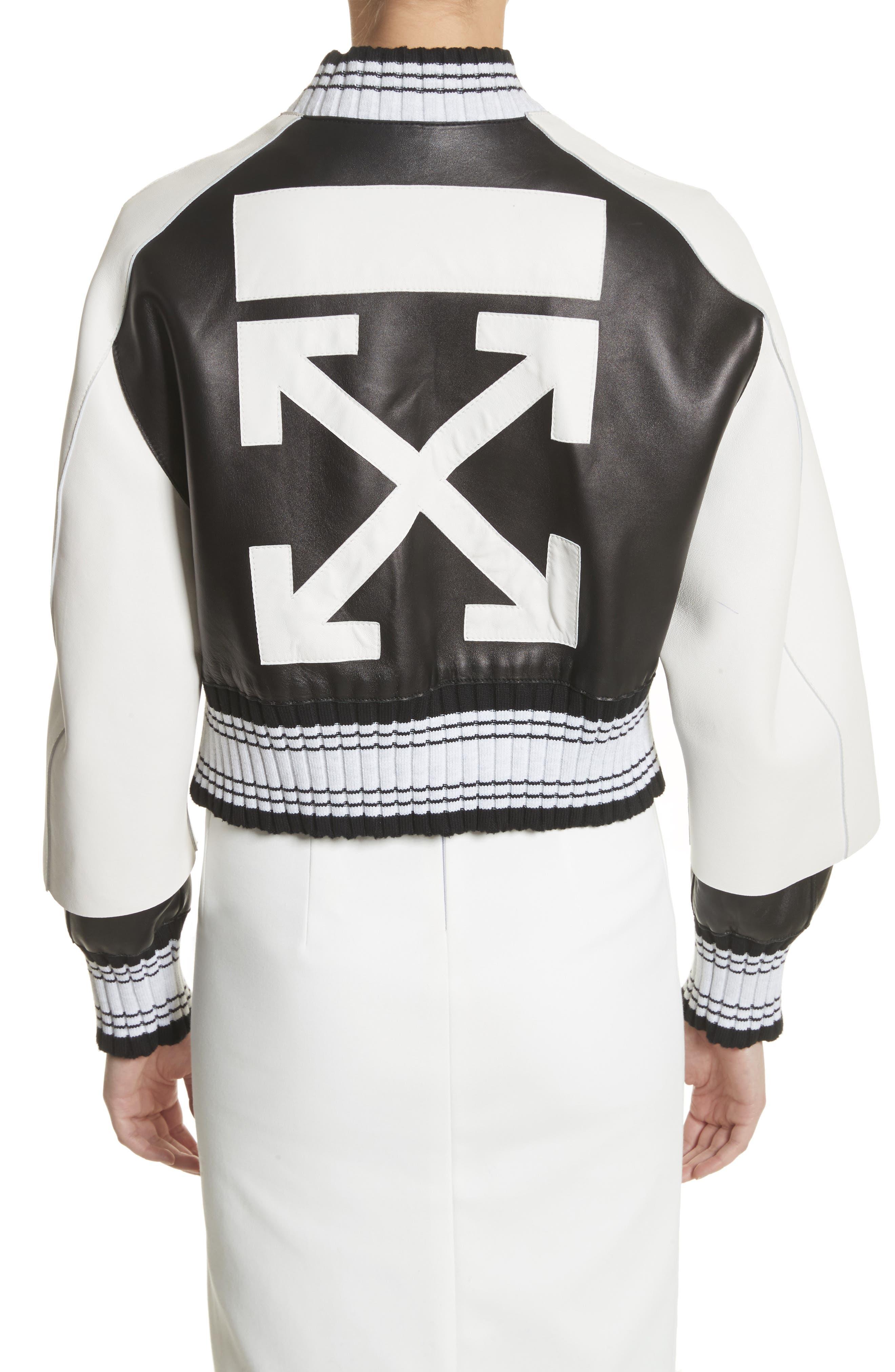 Crop Varsity Jacket,                             Alternate thumbnail 2, color,                             Multicolor White
