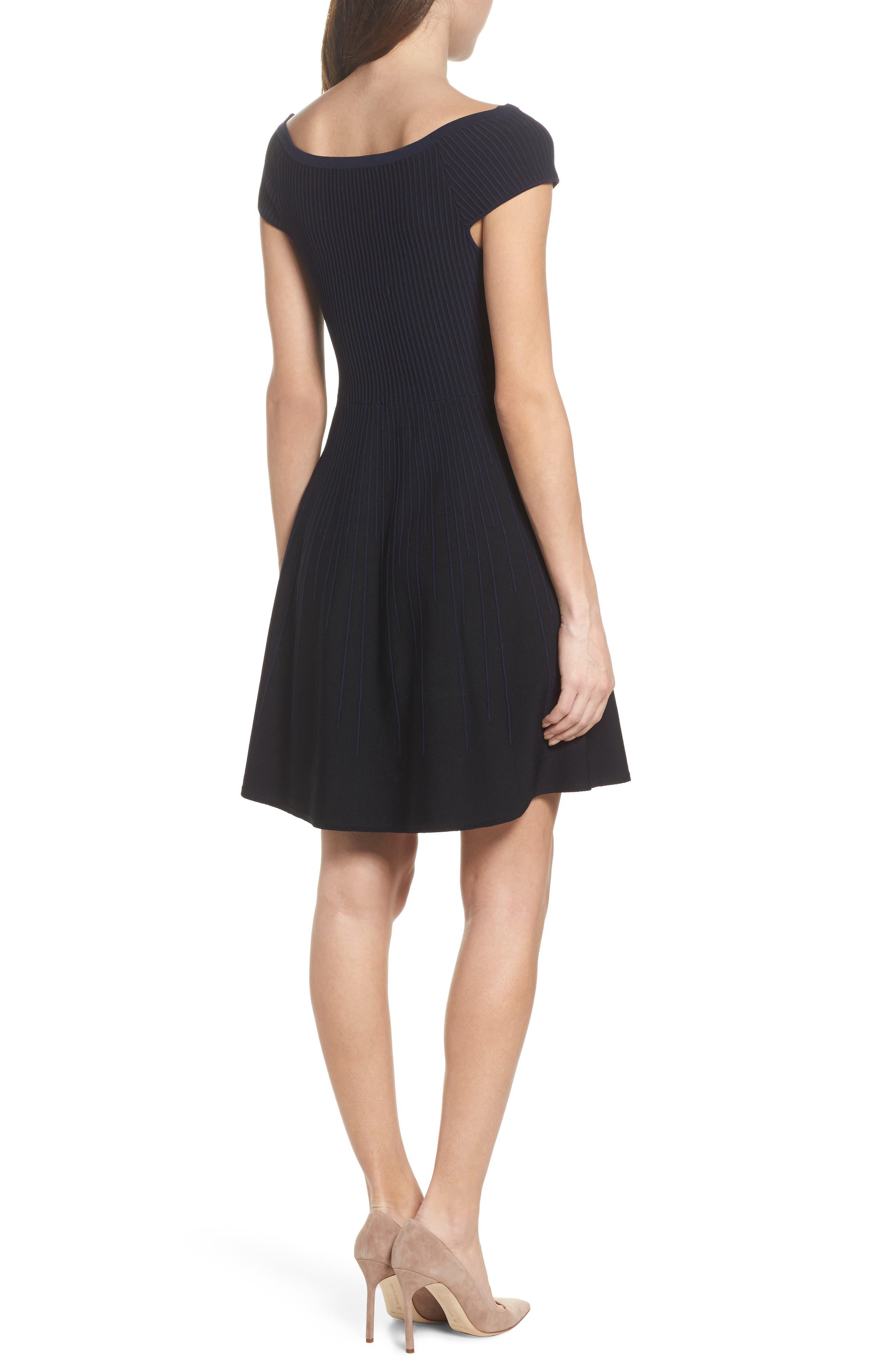 Olivia Off the Shoulder Dress,                             Alternate thumbnail 2, color,                             Black/ Nocturnal
