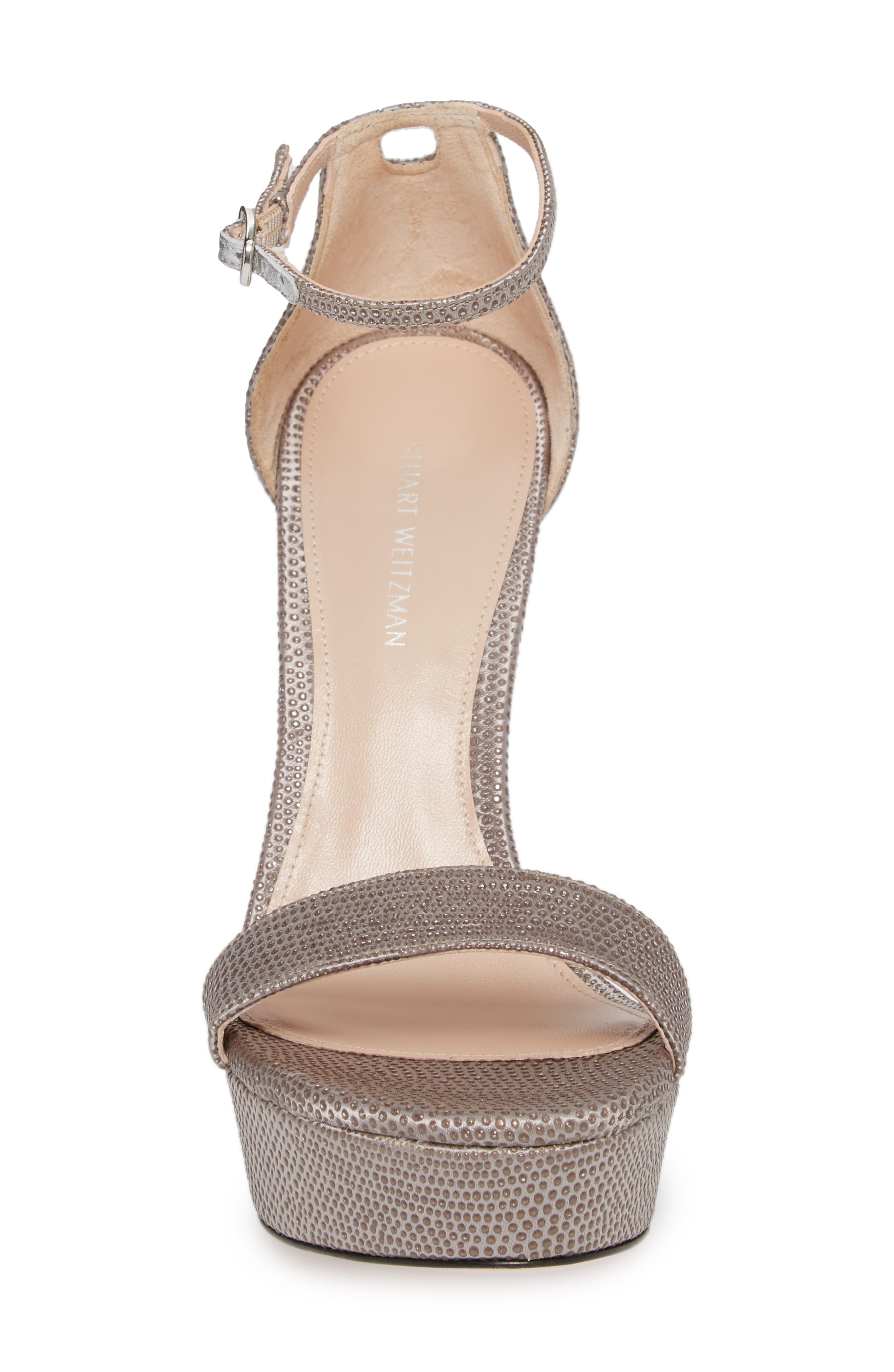 Stuart Weitzamn SOHOT Platform Sandal,                             Alternate thumbnail 4, color,                             Plata Crystaline
