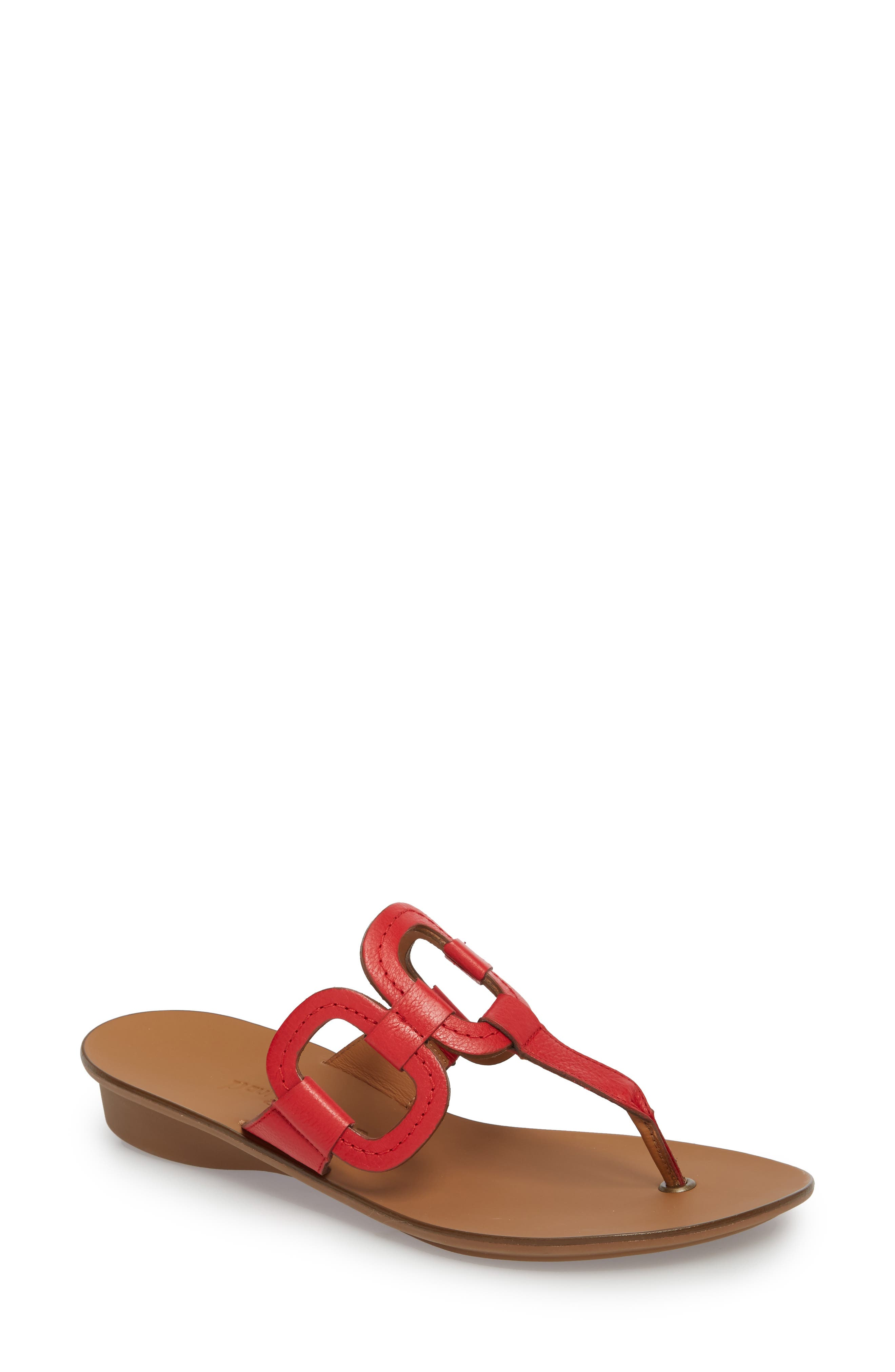 Lanai Flip-Flop,                         Main,                         color, Red Leather