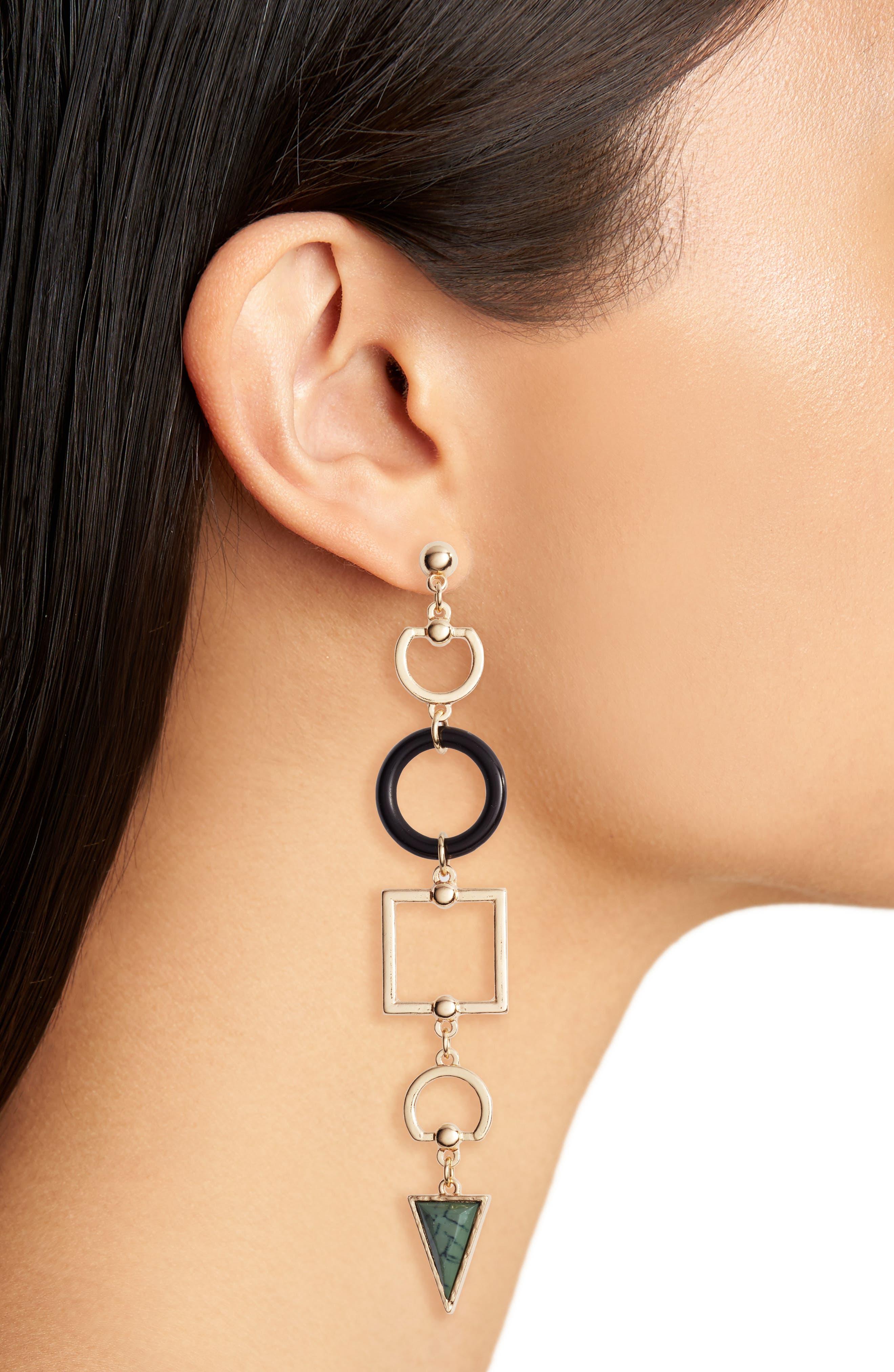 Geometric Stone Drop Earrings,                             Alternate thumbnail 2, color,                             Gold/ Black/ Green