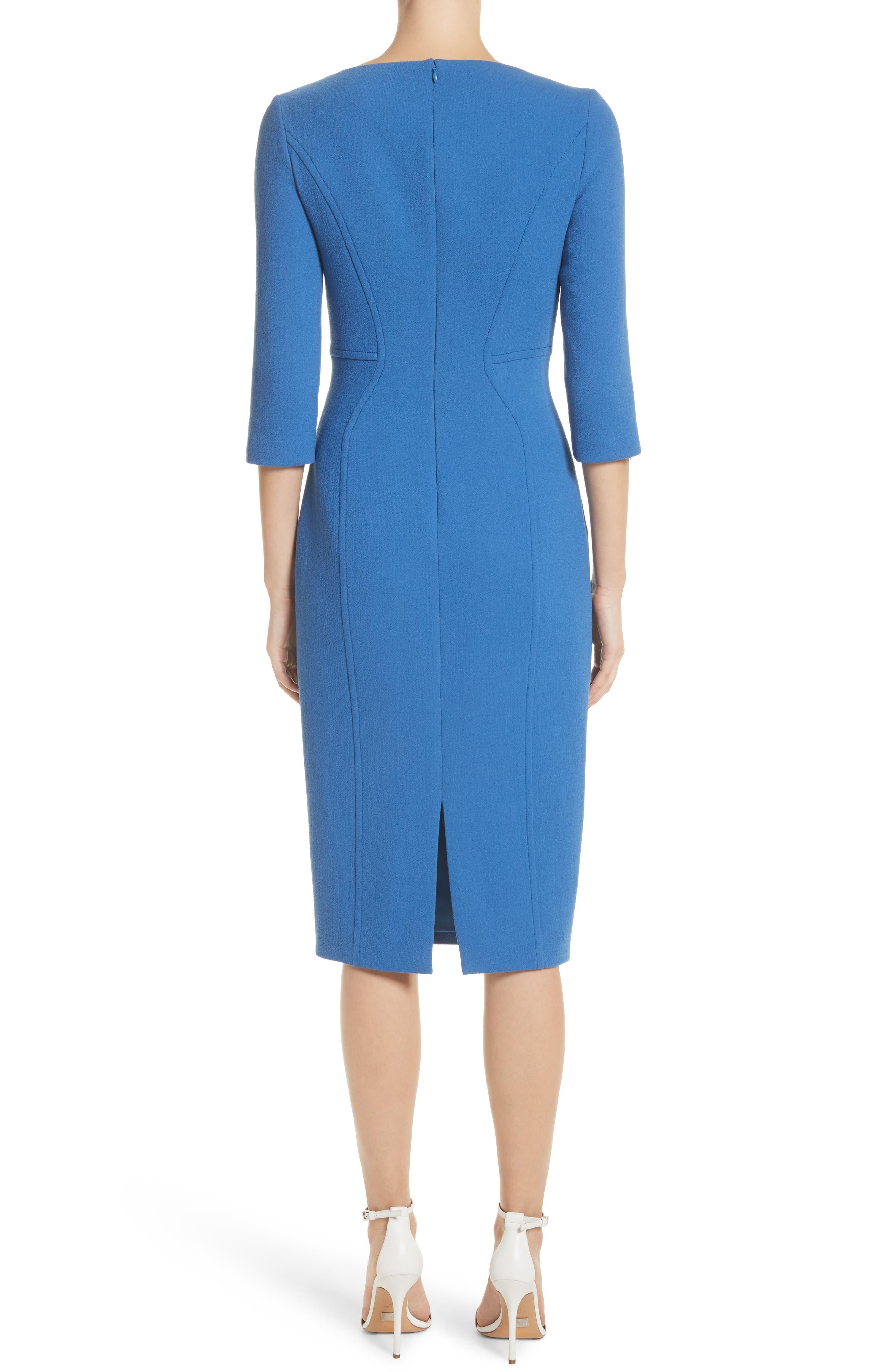 Stretch Wool Sheath Dress,                             Alternate thumbnail 2, color,                             Ocean