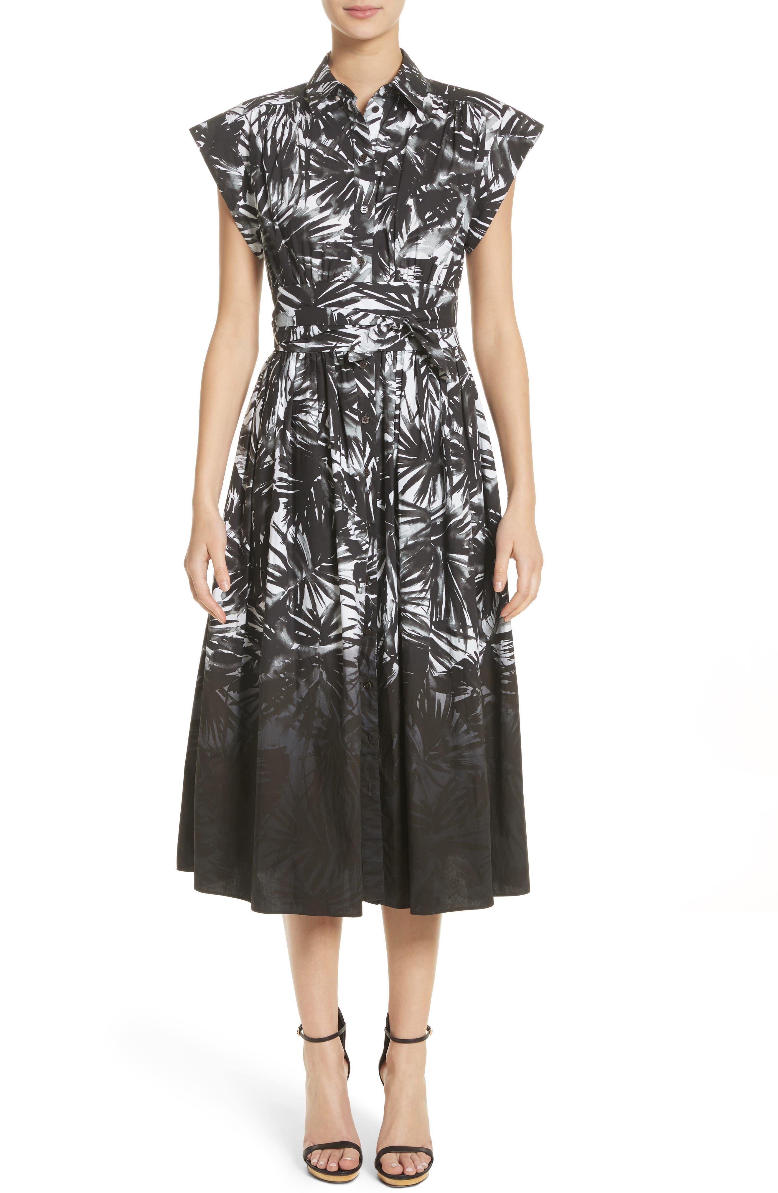 Dip Dye Wrap Waist Shirtdress,                             Main thumbnail 1, color,                             Black Multi