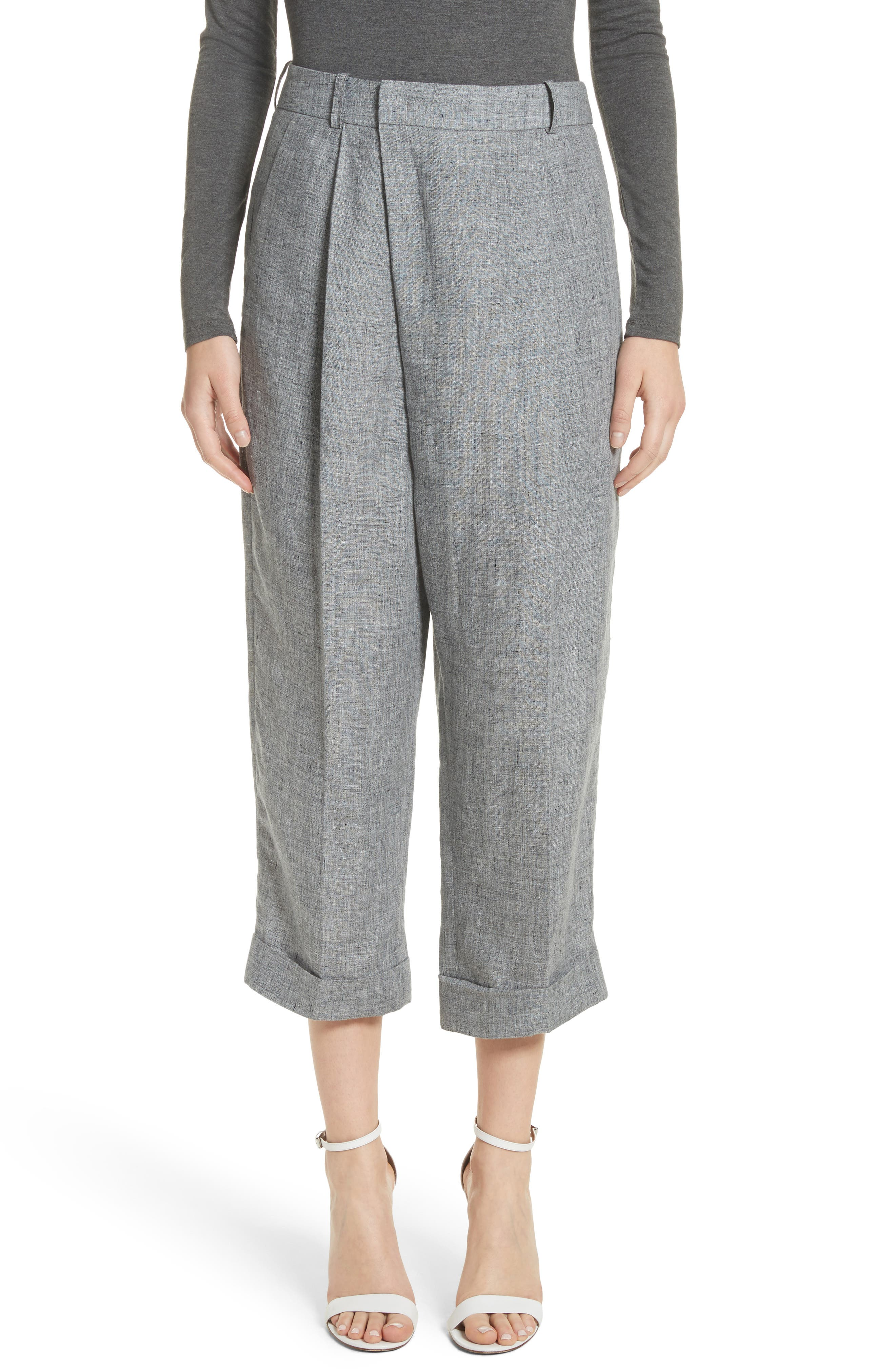 Cross Front Linen Crop Trousers,                             Main thumbnail 1, color,                             Banker Melange