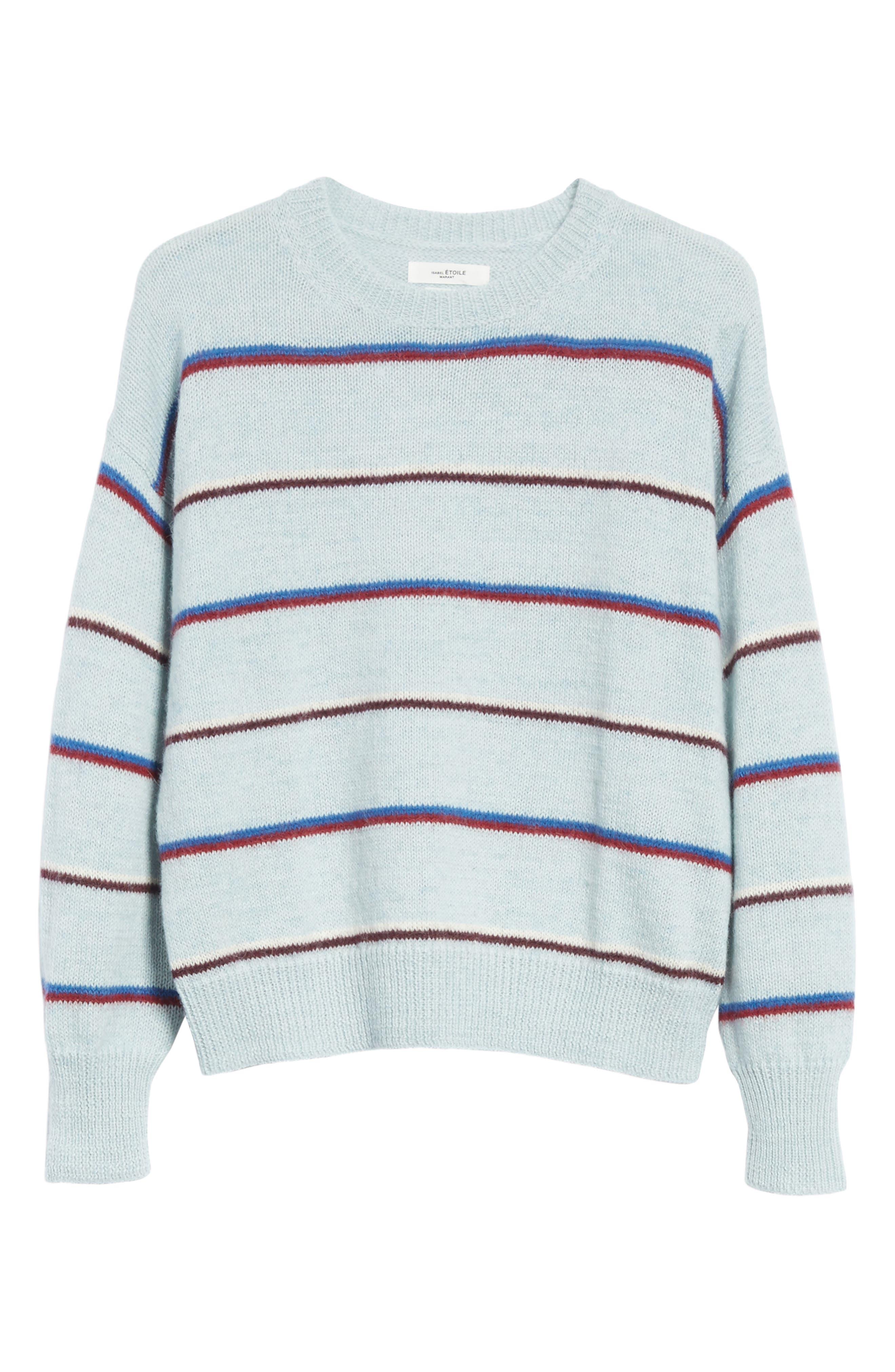 Isabel Marant Étoile Gatlin Stripe Alpaca Blend Sweater,                             Alternate thumbnail 6, color,                             Light Blue