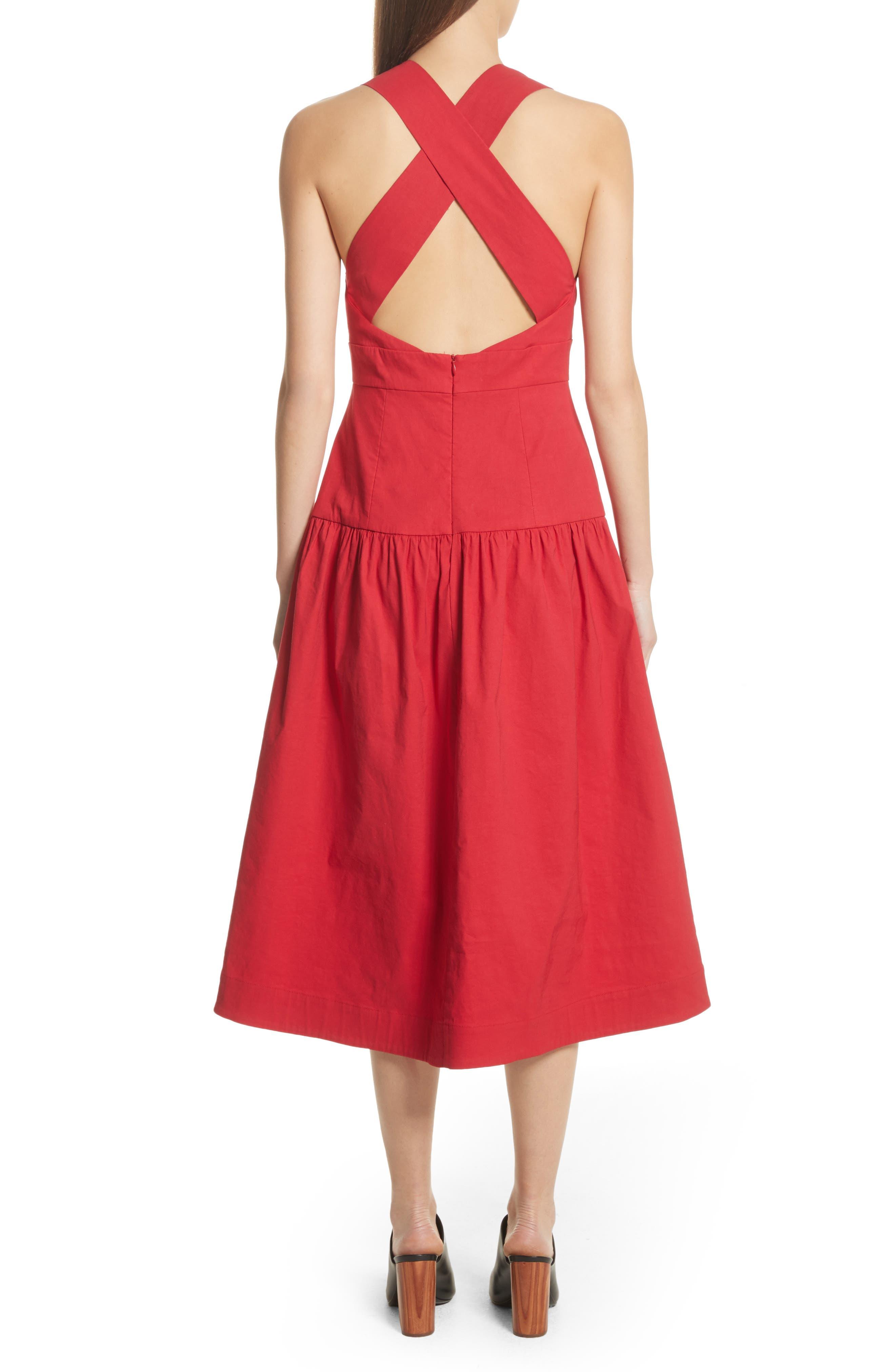 Cecily Cotton & Linen Blend Midi Dress,                             Alternate thumbnail 2, color,                             Red