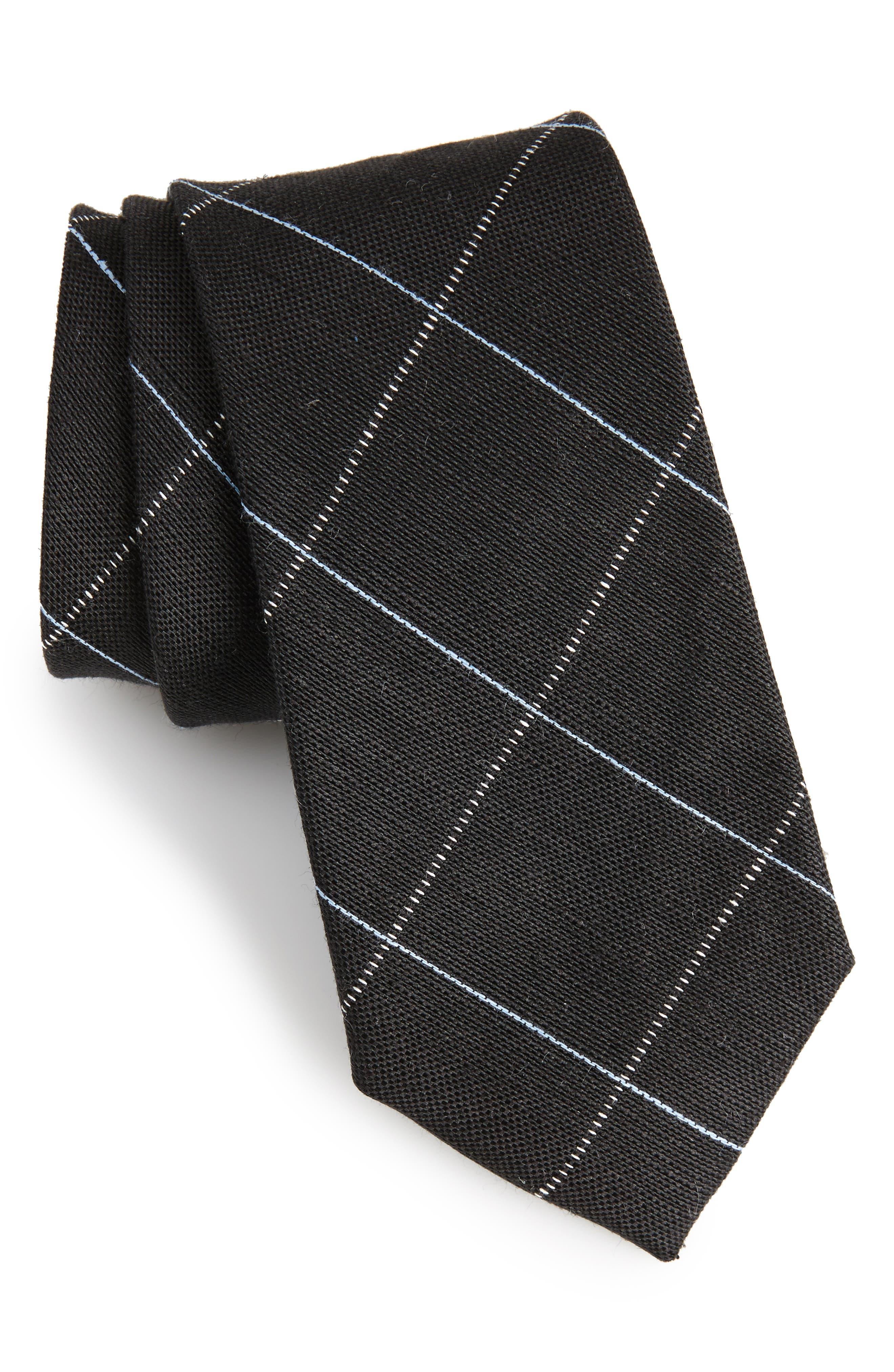Candler Grid Linen & Silk Tie,                             Main thumbnail 1, color,                             Black