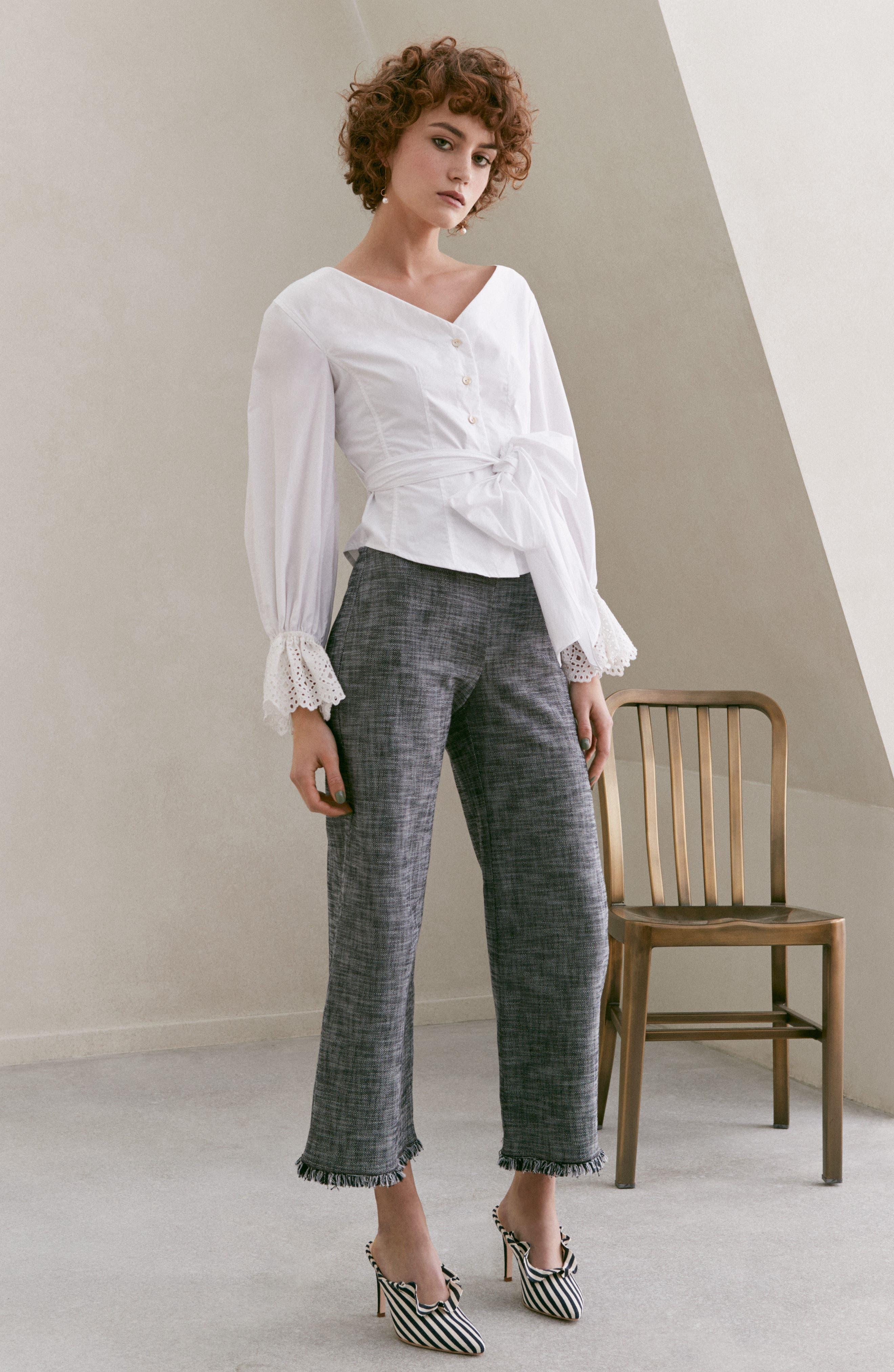 Slub Crop Suit Pants,                             Alternate thumbnail 7, color,                             Grey/ Black Combo