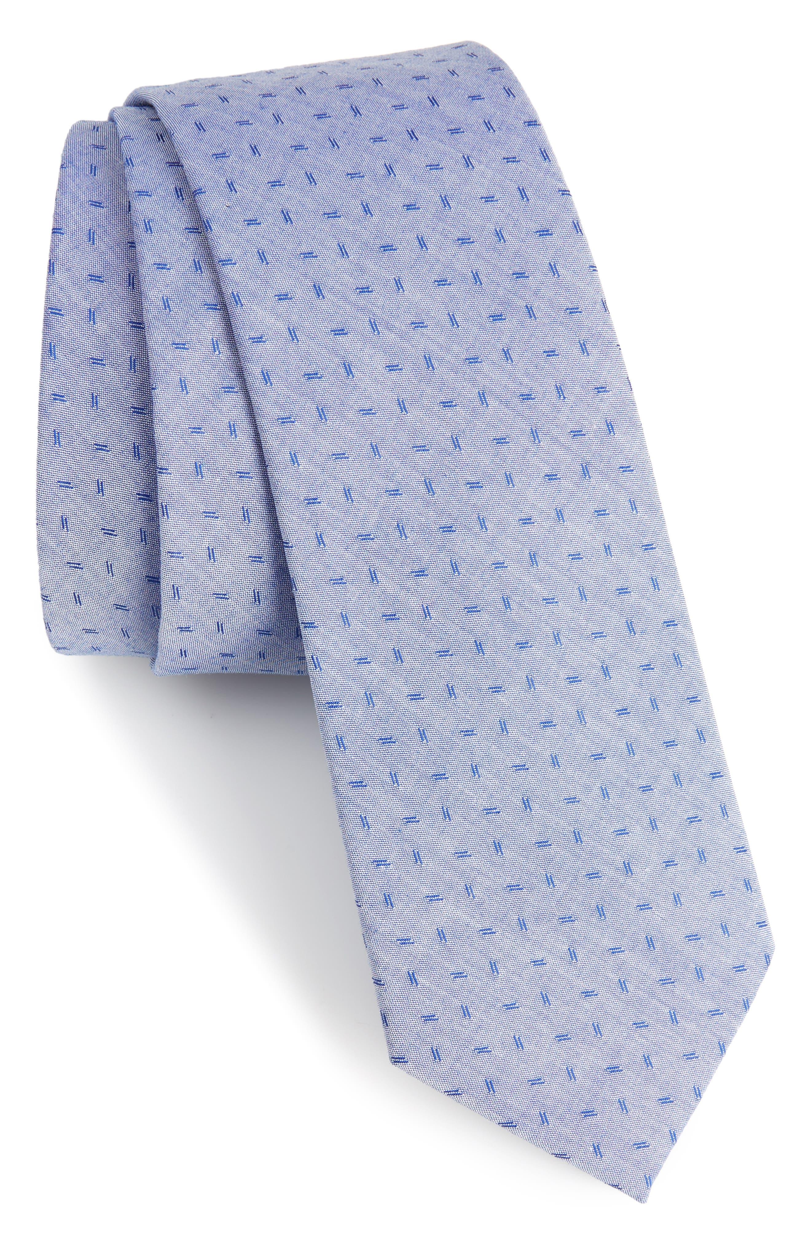 Indigo Microgrid Cotton Skinny Tie,                             Main thumbnail 1, color,                             Blue