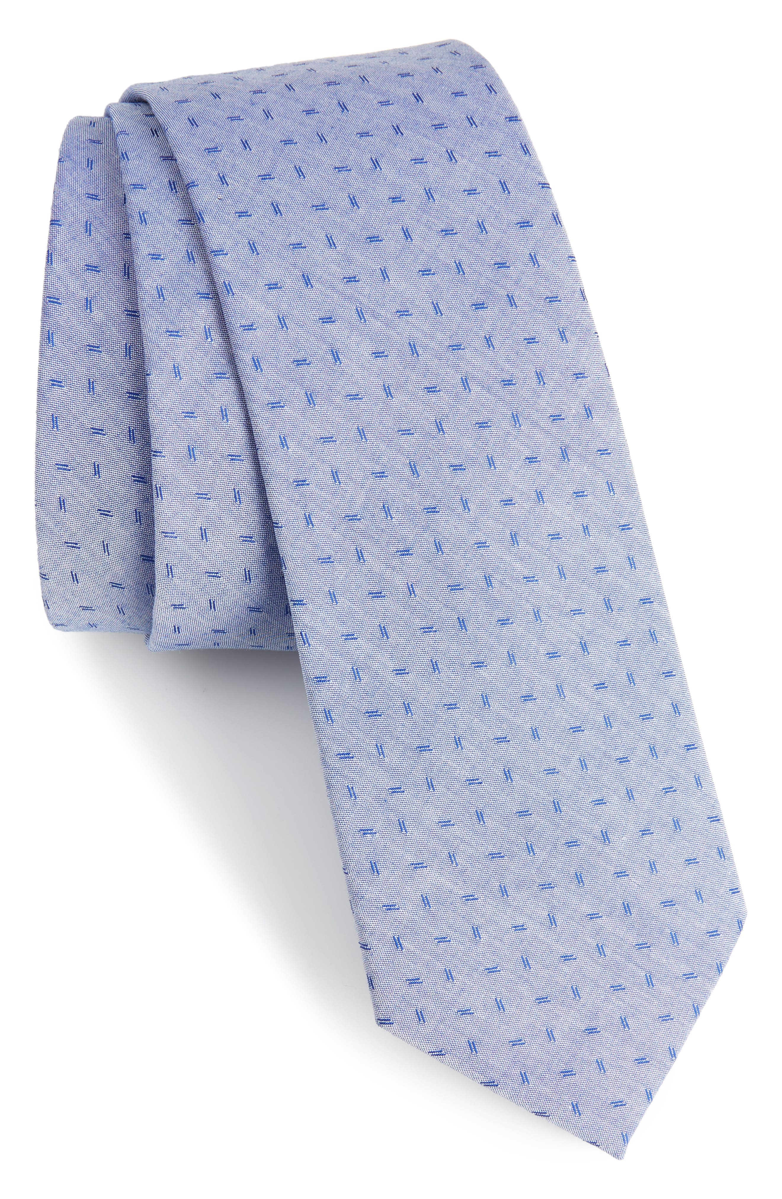 Indigo Microgrid Cotton Skinny Tie,                         Main,                         color, Blue