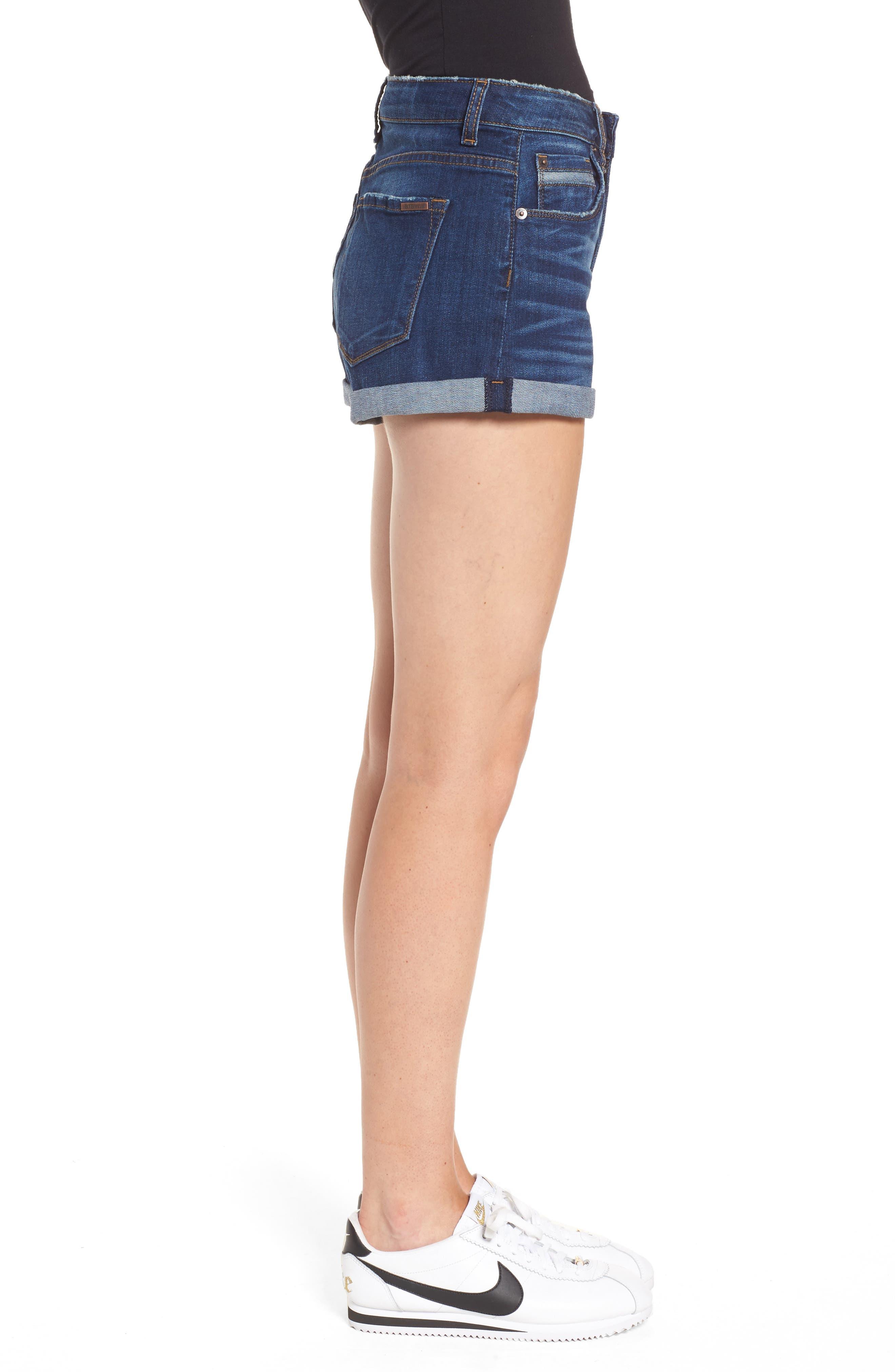 Rose Bowl Cuffed Denim Shorts,                             Alternate thumbnail 3, color,                             Sageland