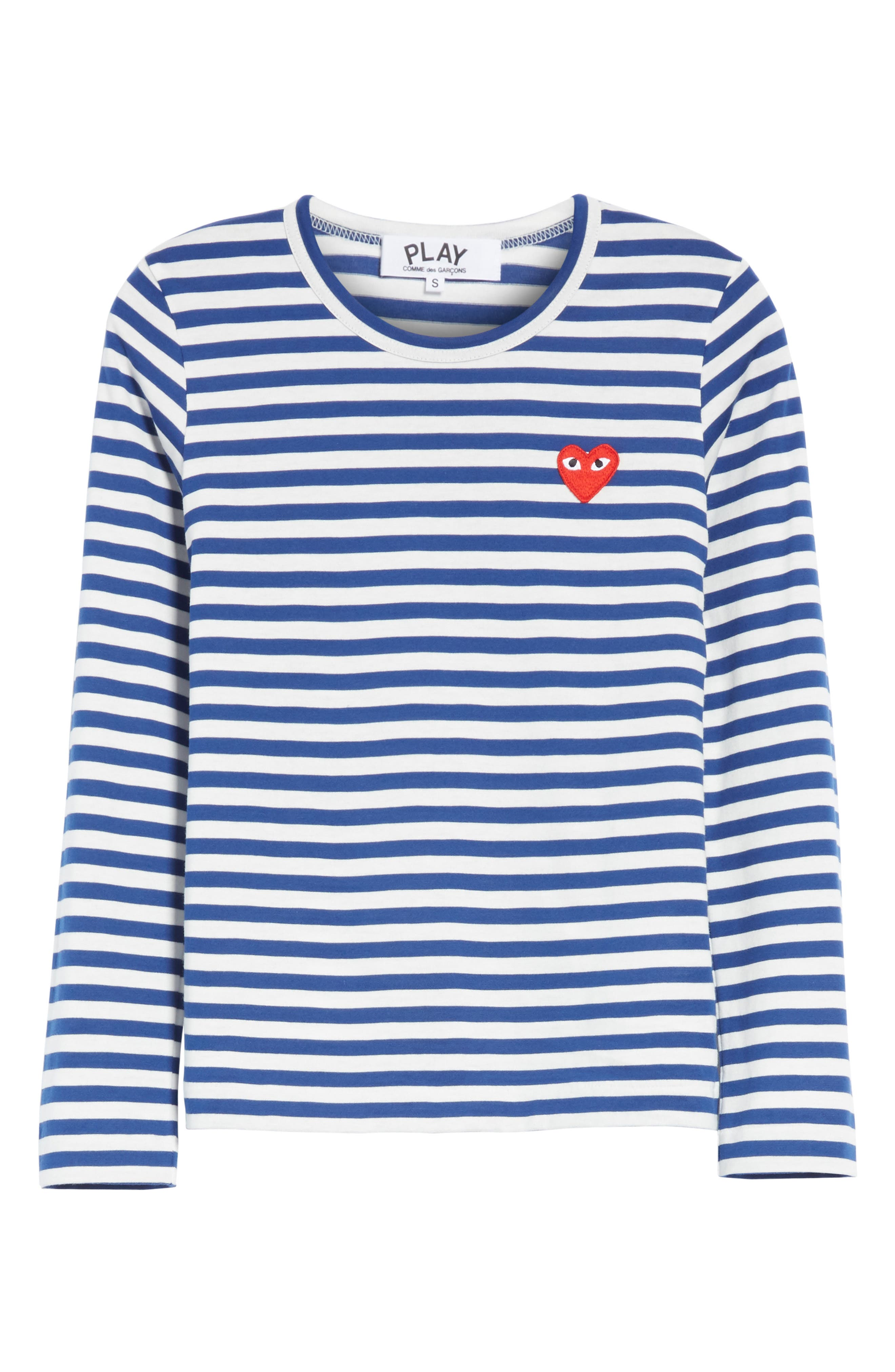 Comme des Garçons PLAY Stripe Cotton Tee,                             Alternate thumbnail 6, color,                             Navy/ White