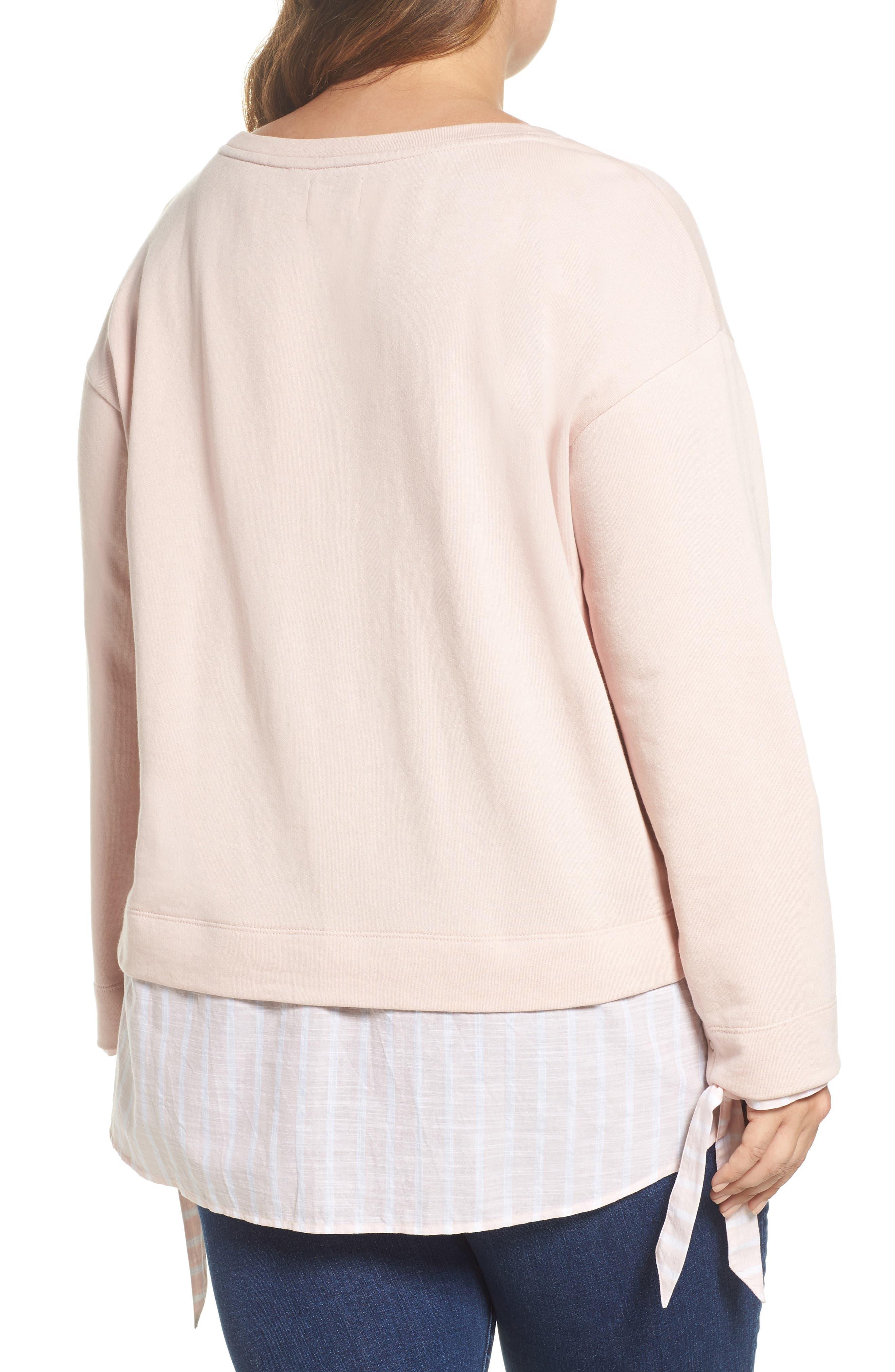Woven Hem Sweatshirt,                             Alternate thumbnail 2, color,                             Pink- Stripe Colorblock