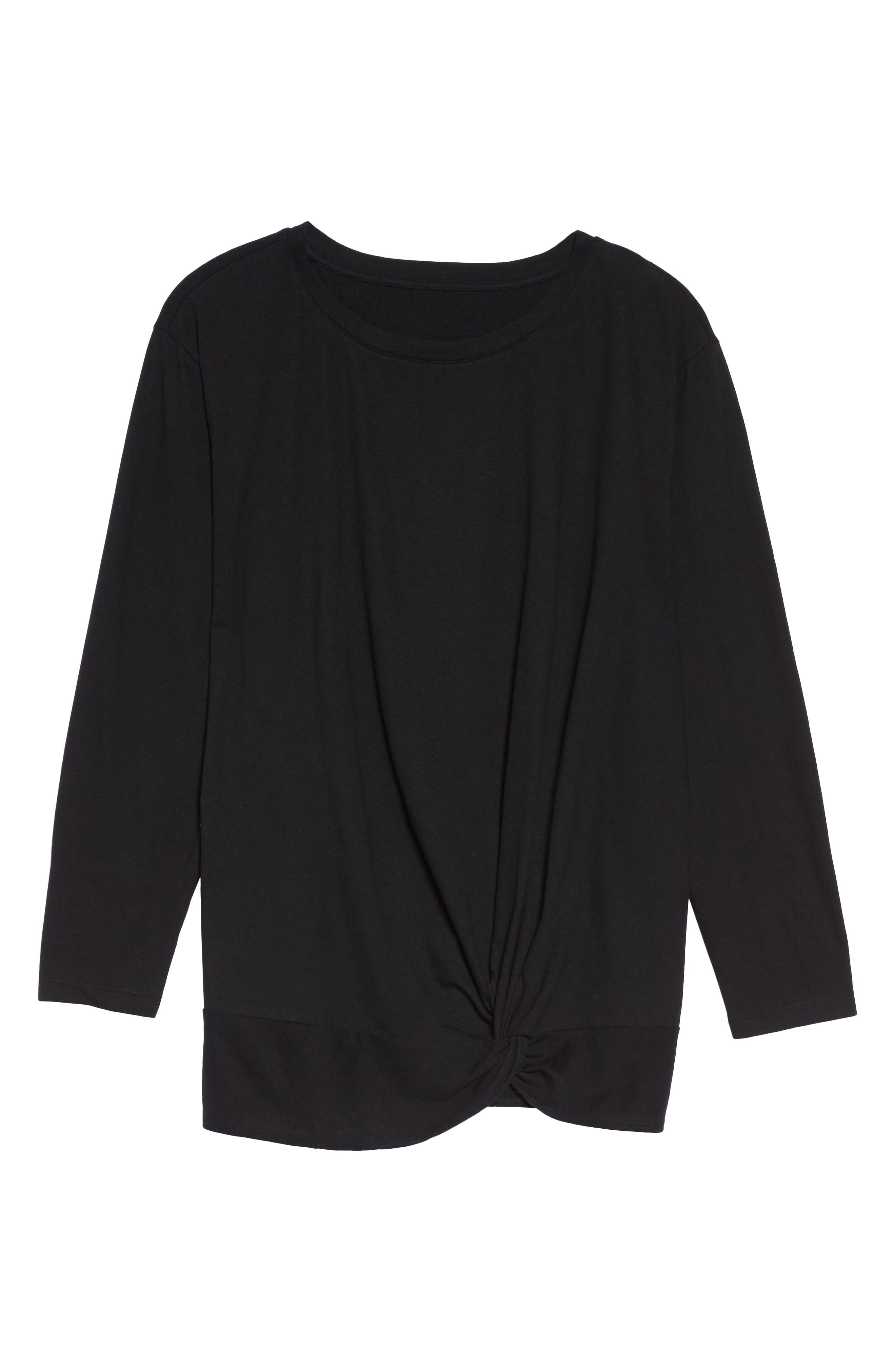 Alternate Image 6  - Caslon® Knot Front Long Sleeve Tee (Plus Size)