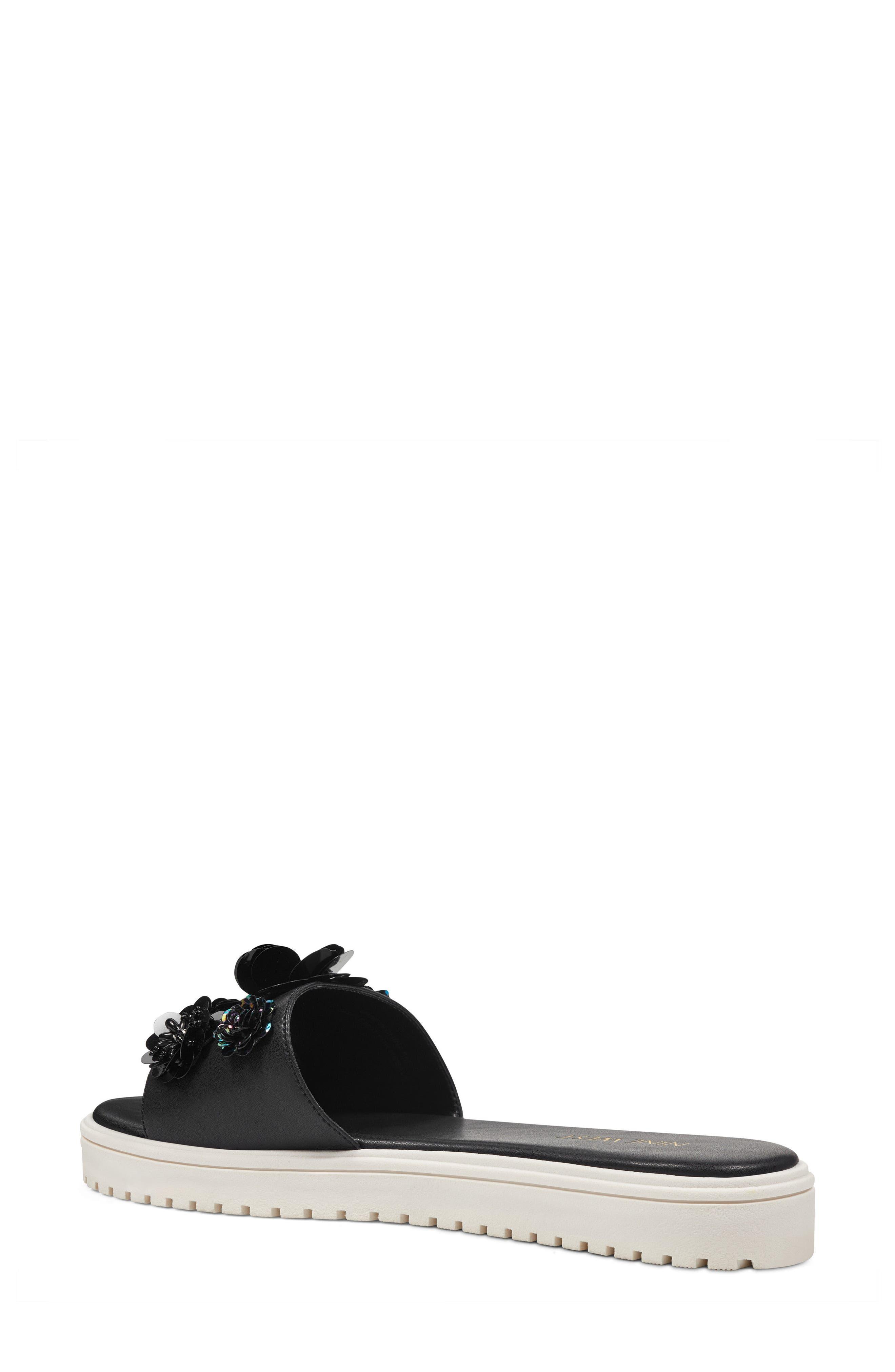 Rainen Flower Embellished Slide Sandal,                             Alternate thumbnail 2, color,                             Black Fabric